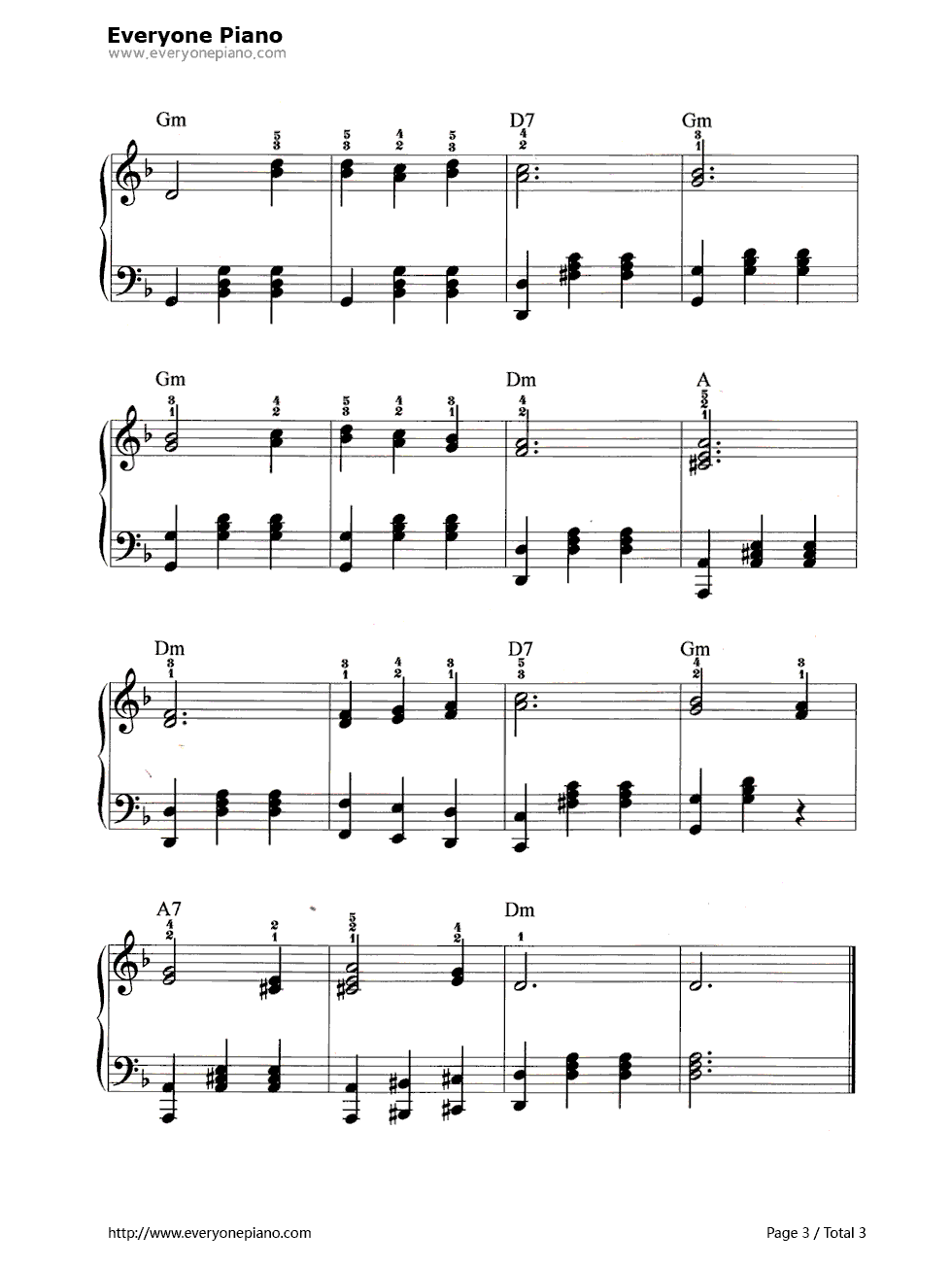 山楂树五线谱预览3-钢琴谱文件(五线谱,双手简谱,数字图片