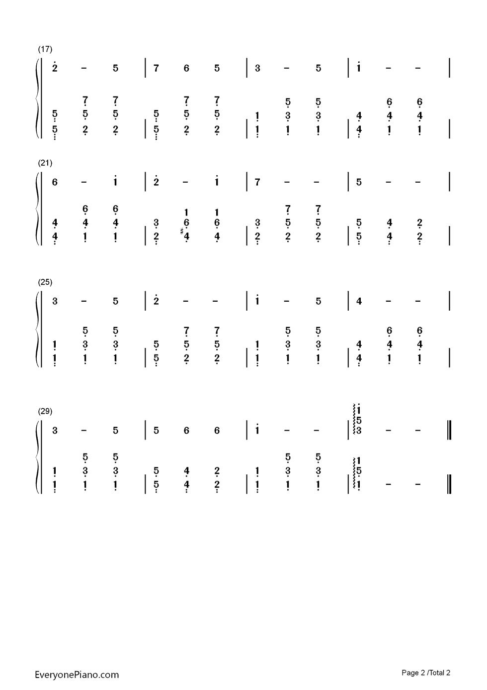 lweiss 音乐之声插曲双手简谱预览 EOP在线乐谱架