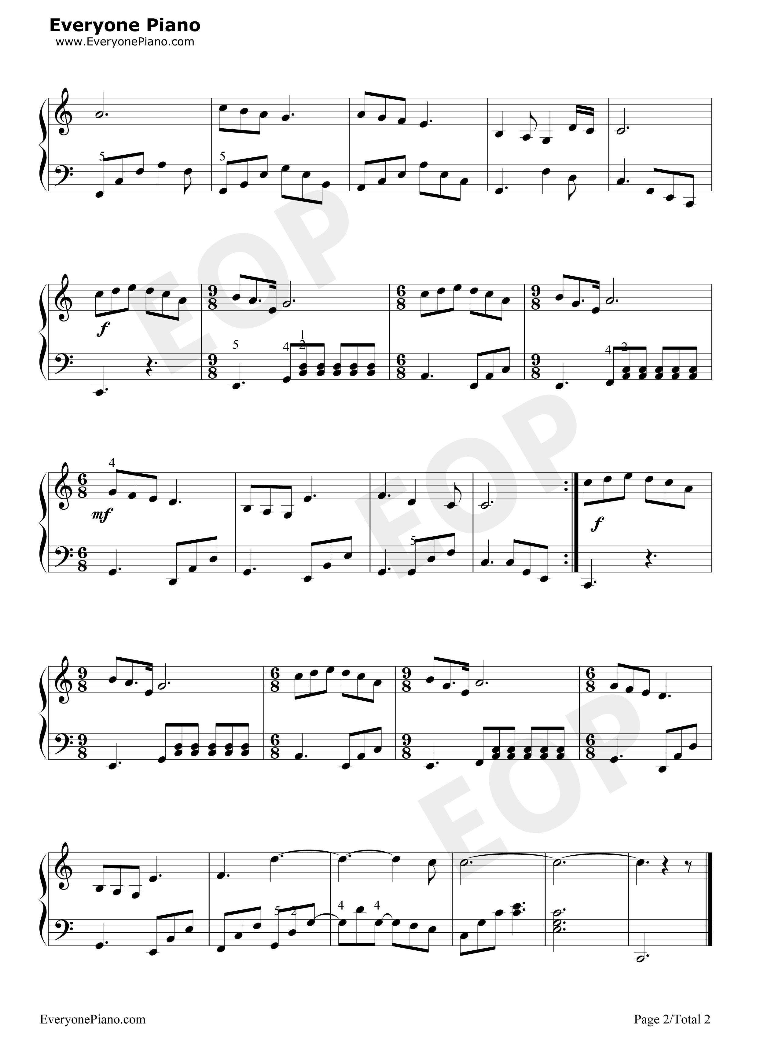 钢琴曲谱 民乐 我和我的祖国简谱,五线谱对应版 我和我的祖国简谱