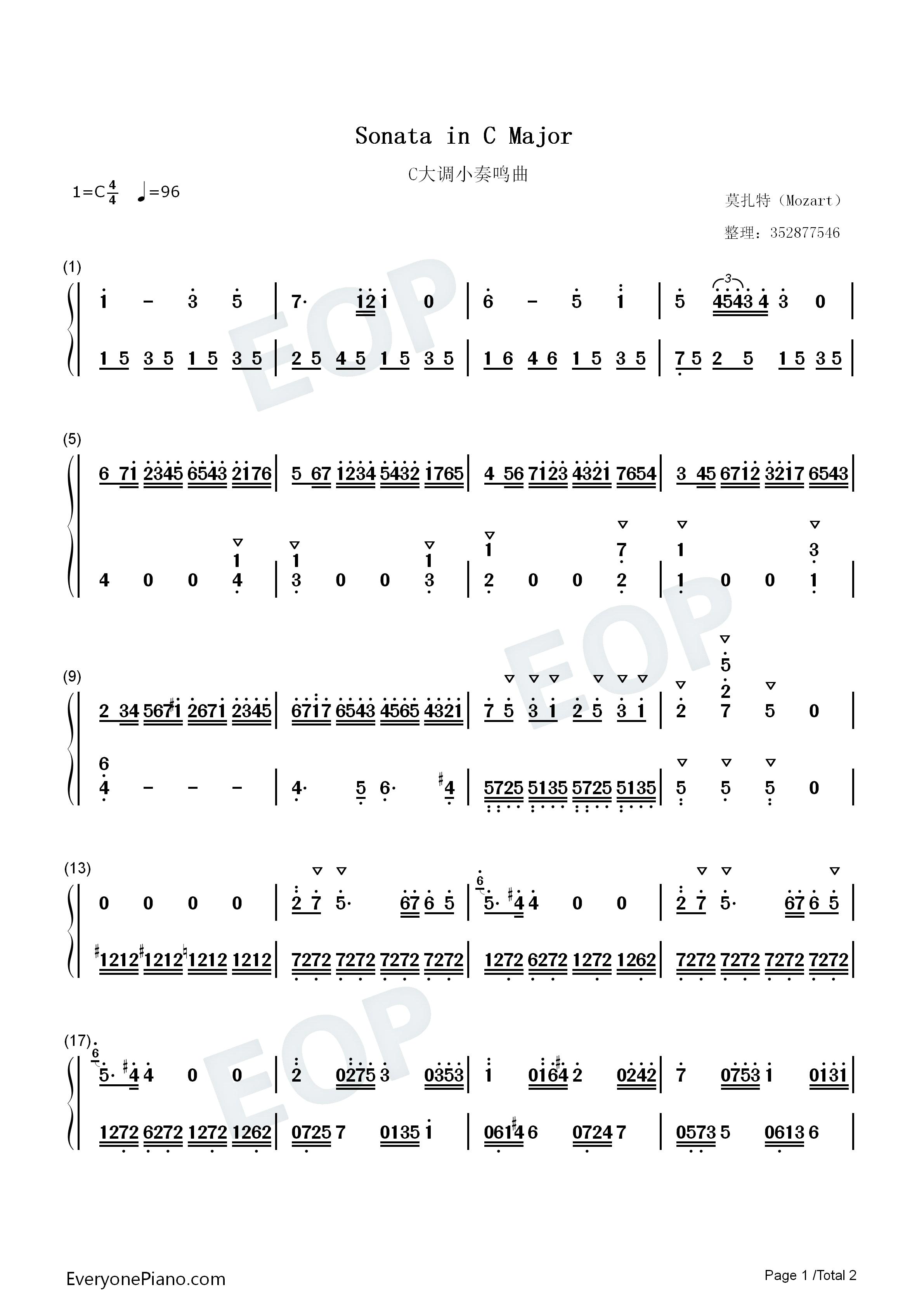 C大调小奏鸣曲双手简谱预览 EOP在线乐谱架