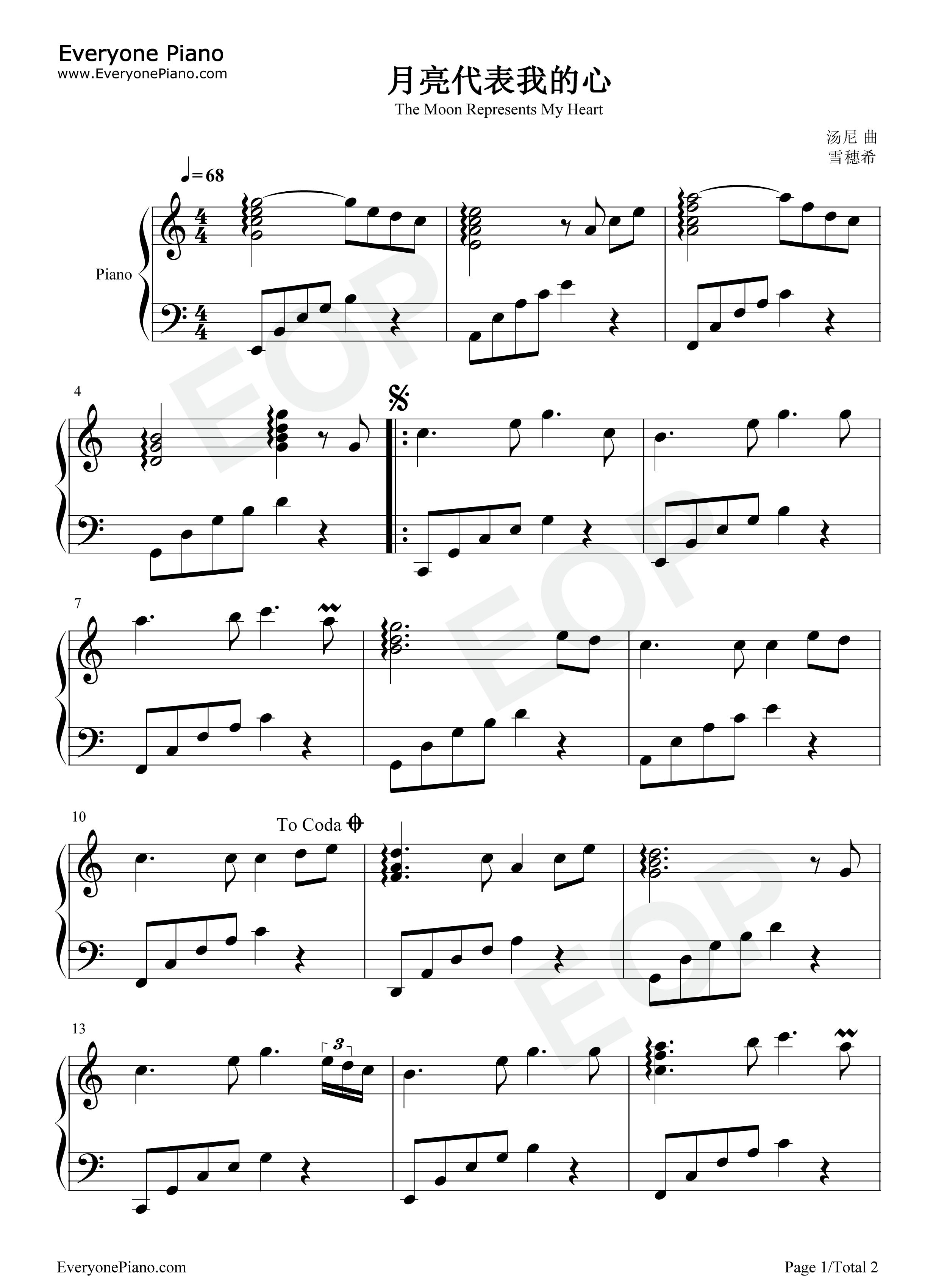 简谱对应版五线谱预览1-钢琴谱(五线谱,双手简谱)免费下载;