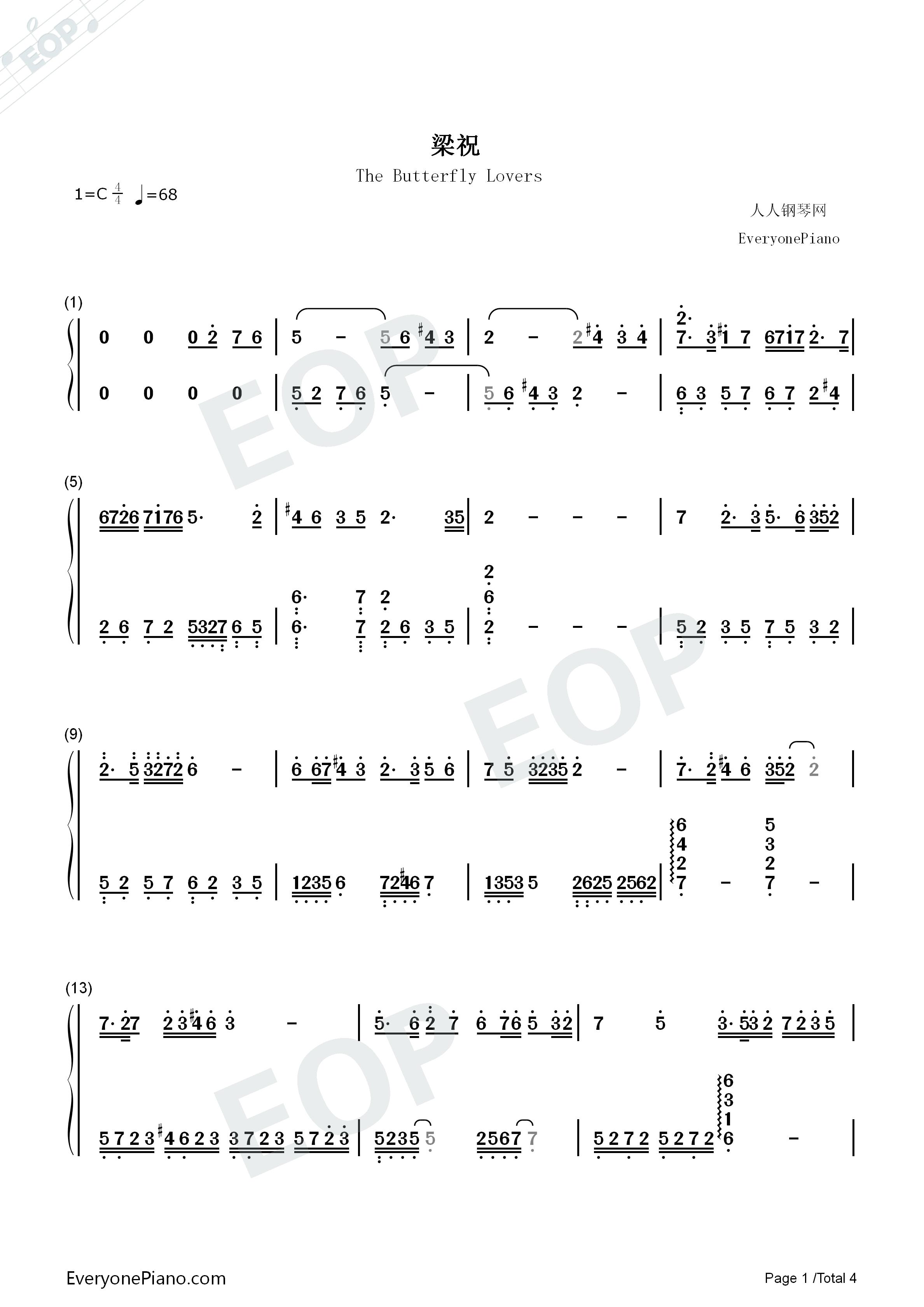 梁祝钢琴曲双手简谱