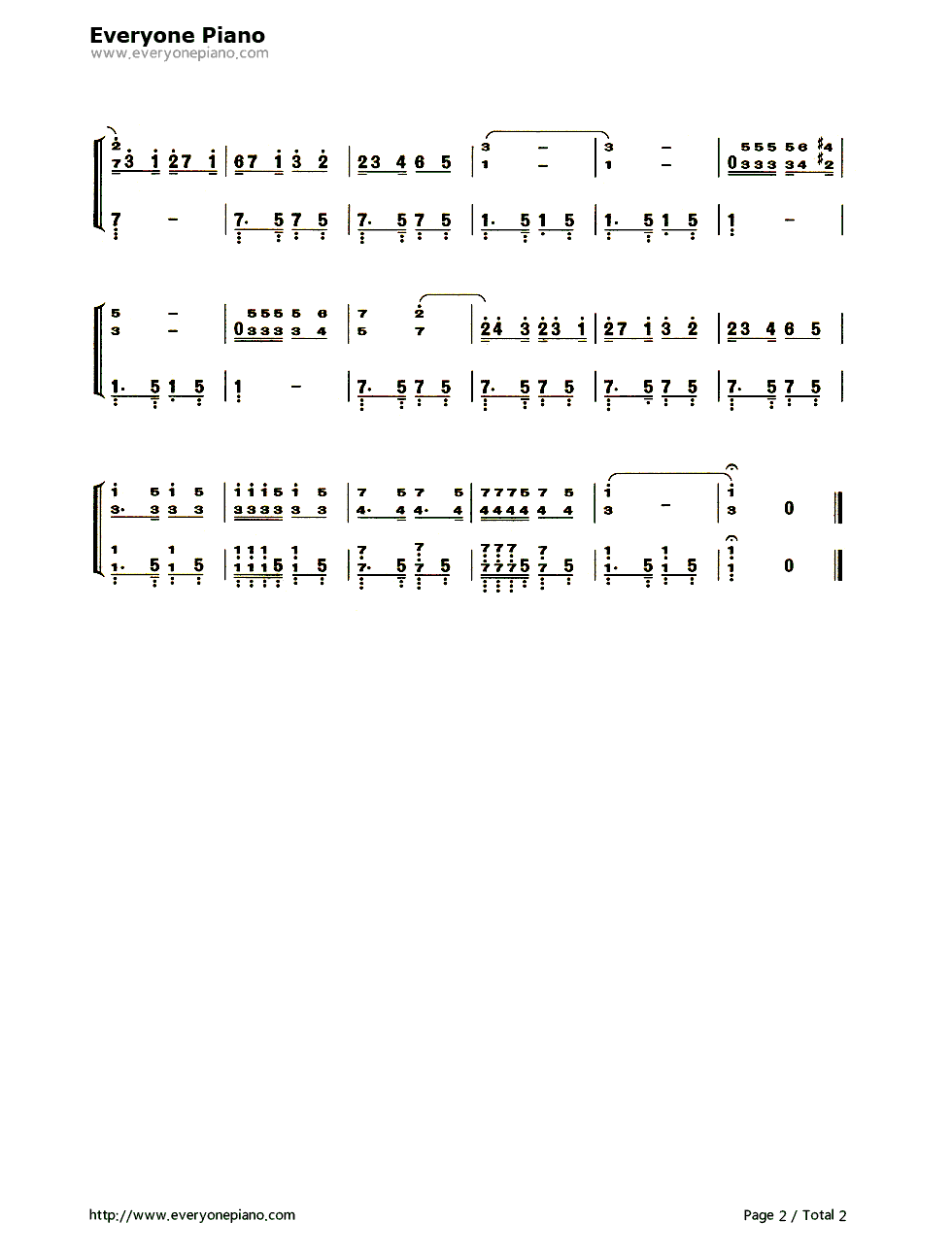 鸽子五线谱,简谱对应版
