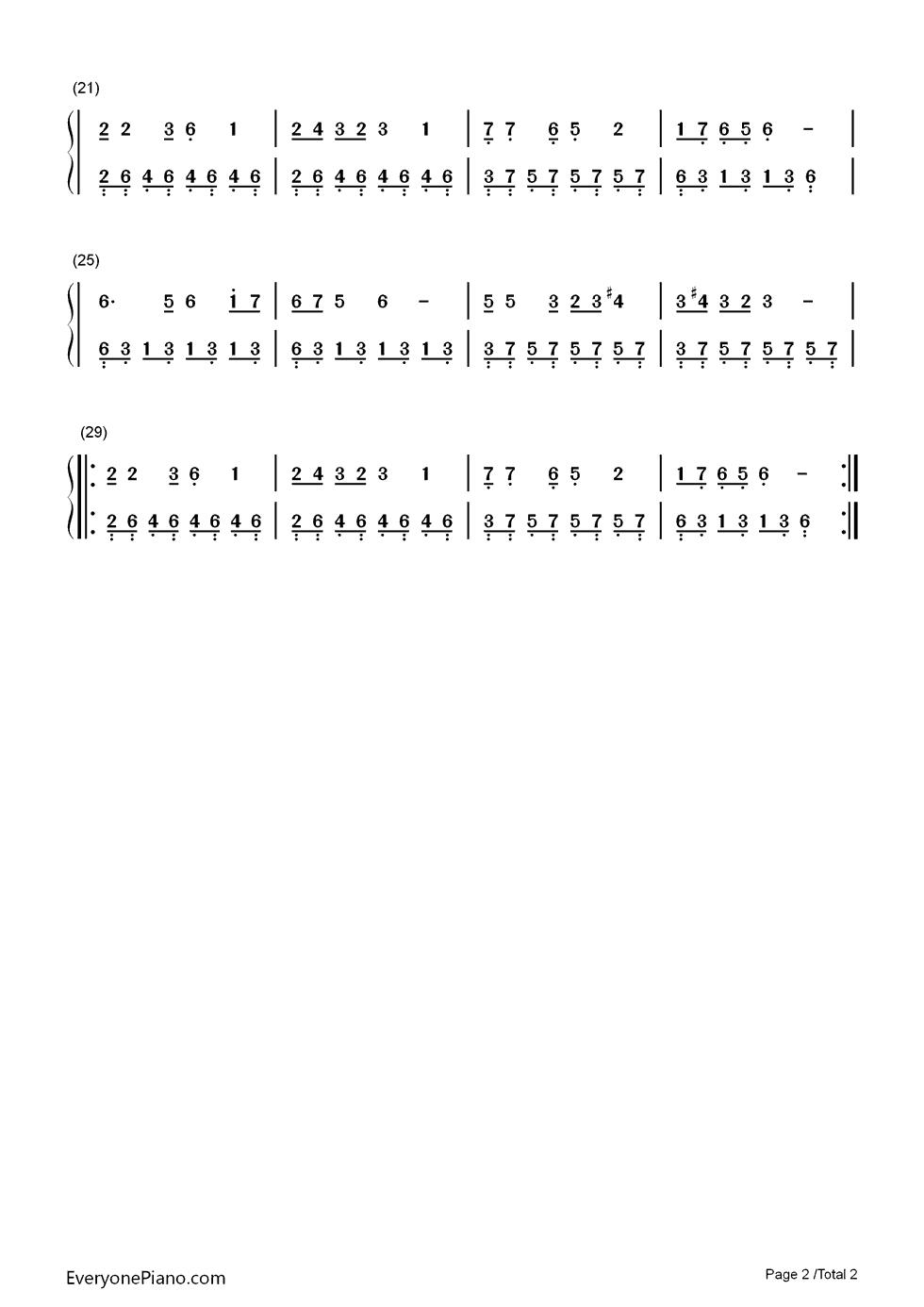 月之故乡(带歌词版)双手简谱预览2