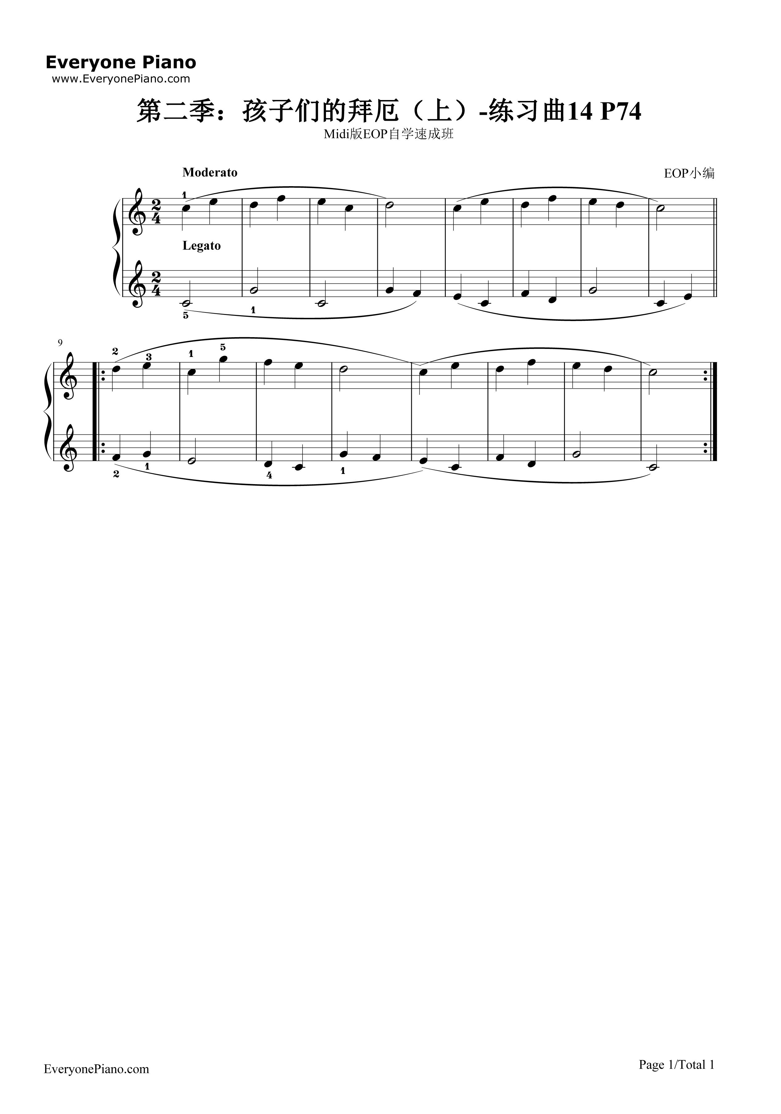 钢琴曲谱 练习曲 孩子们的拜厄14 孩子们的拜厄14五线谱预览1   仅供