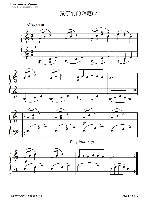 孩子们的拜厄57五线谱预览1-钢琴谱(五线谱,双手简谱)图片