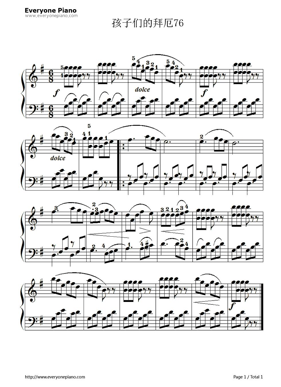 网站首页 钢琴曲谱 练习曲 孩子们的拜厄76 >> 孩子们的拜厄76五线谱图片