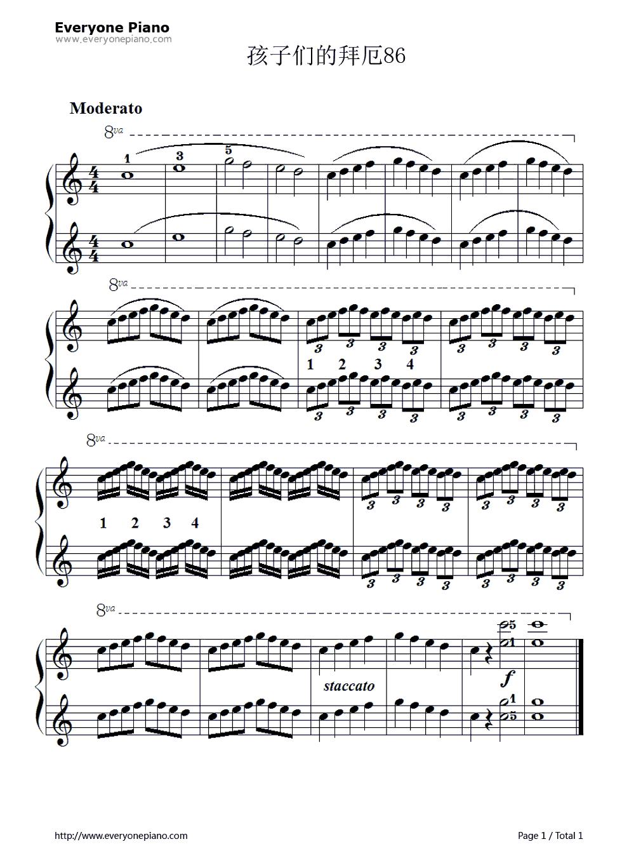 孩子们的拜厄86五线谱预览1-钢琴谱(五线谱,双手简谱)