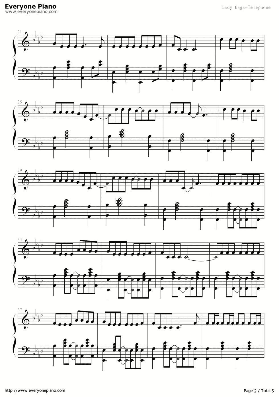 Telephone电话-Lady嘎嘎Lady GaGa五线谱预览2-钢琴谱文件