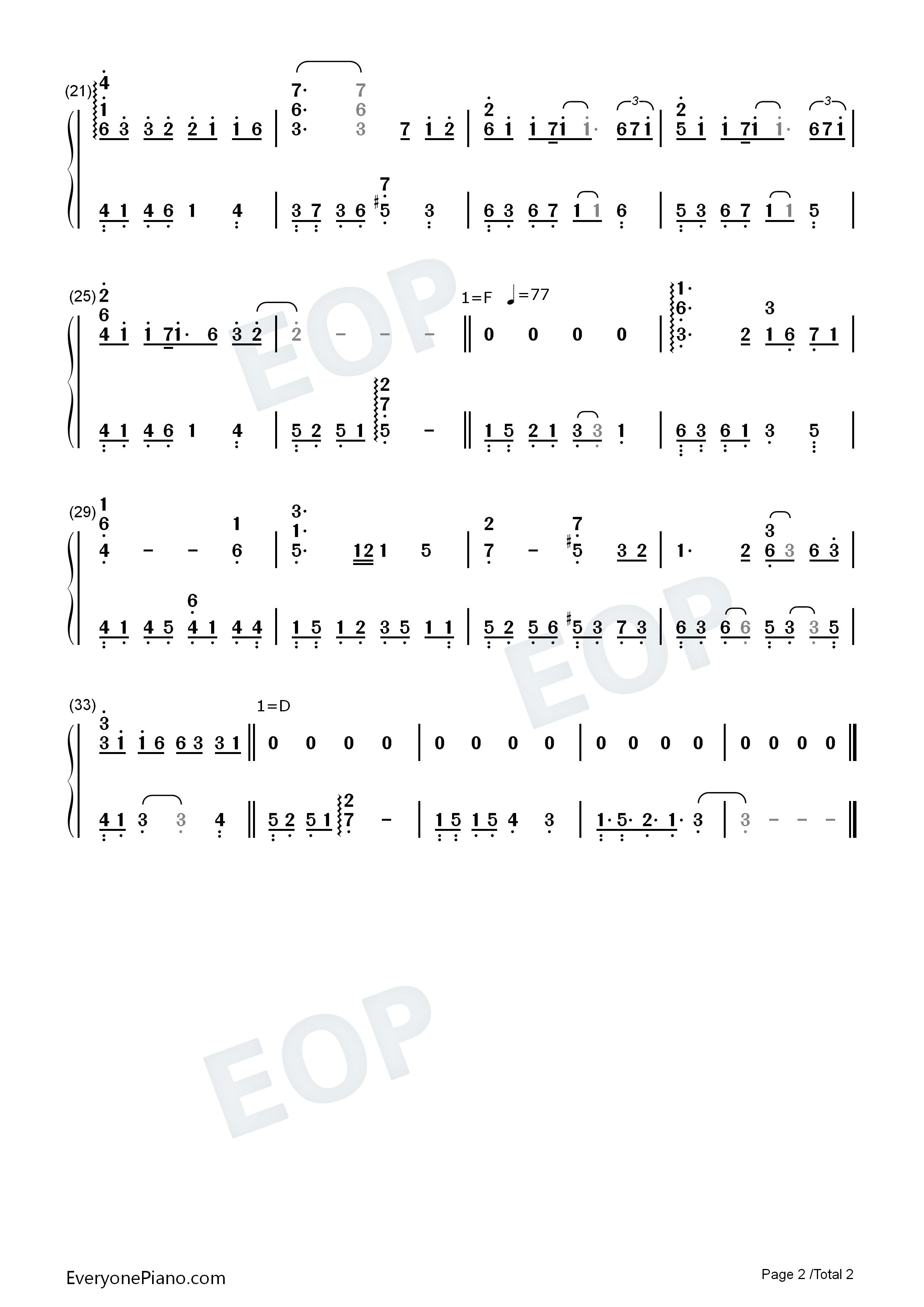 奥特曼钢琴曲简谱