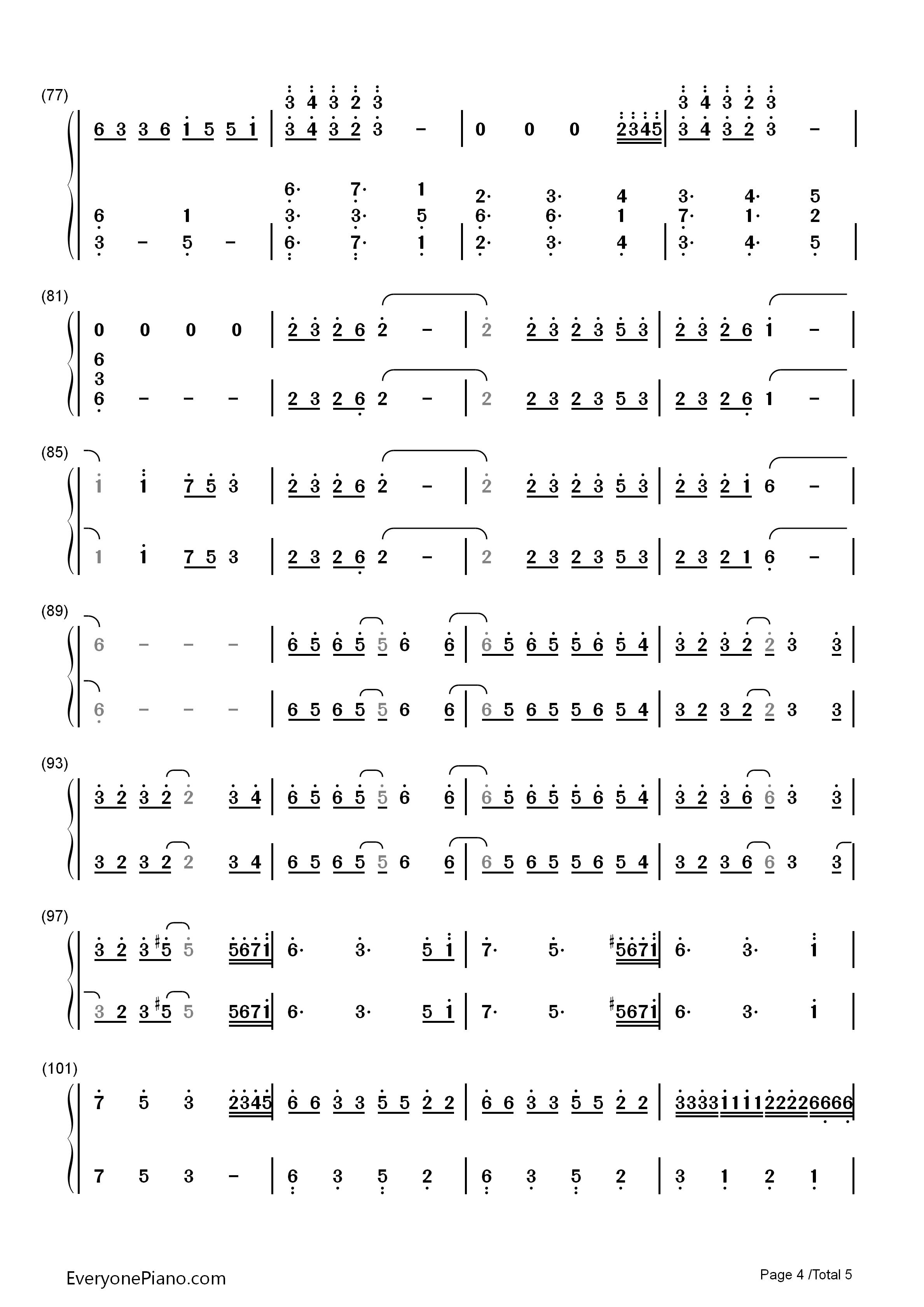 歌曲双手简谱预览4  你还在使用图片格式的谱子吗?