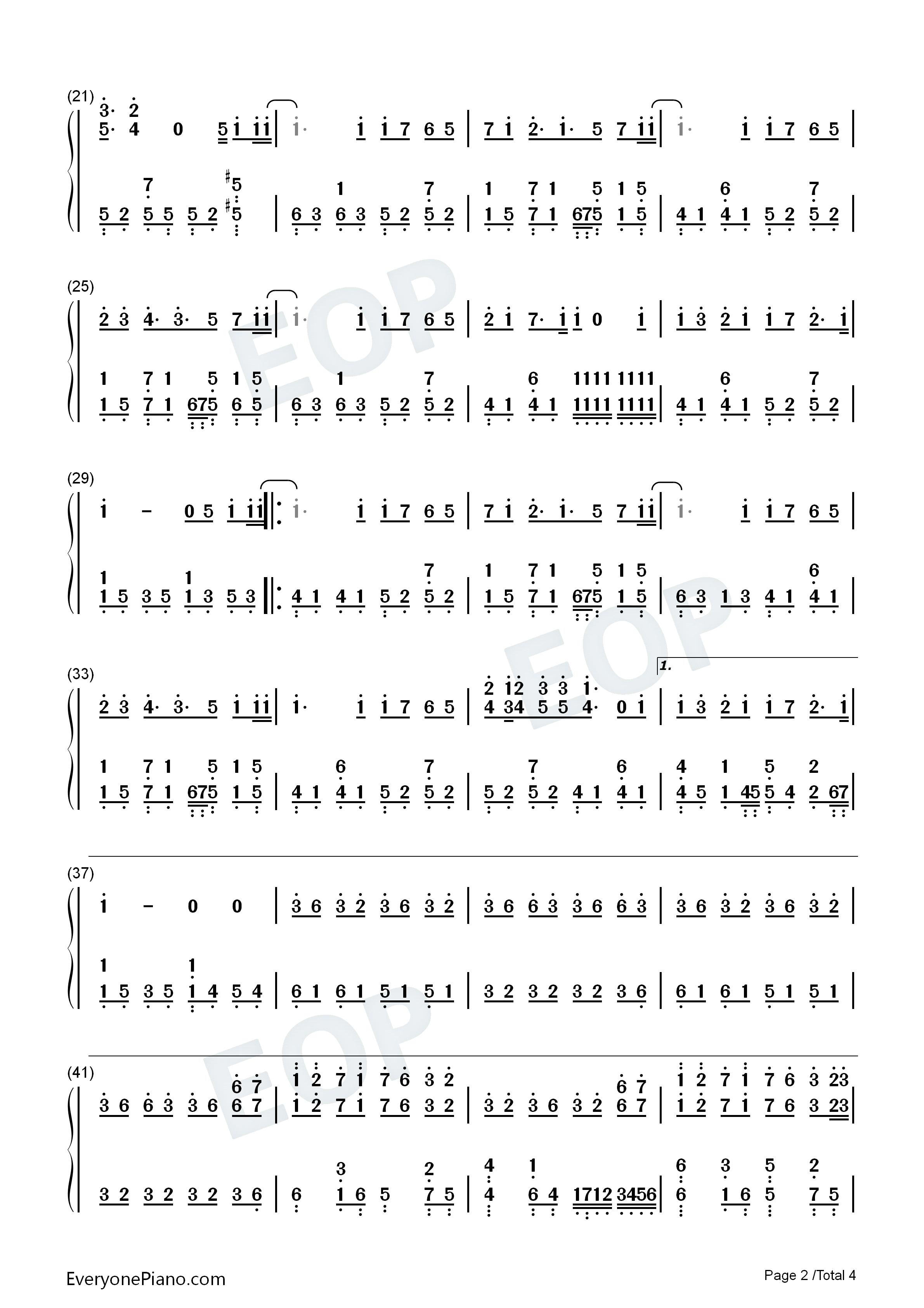 七里香 周杰伦双手简谱预览 EOP在线乐谱架