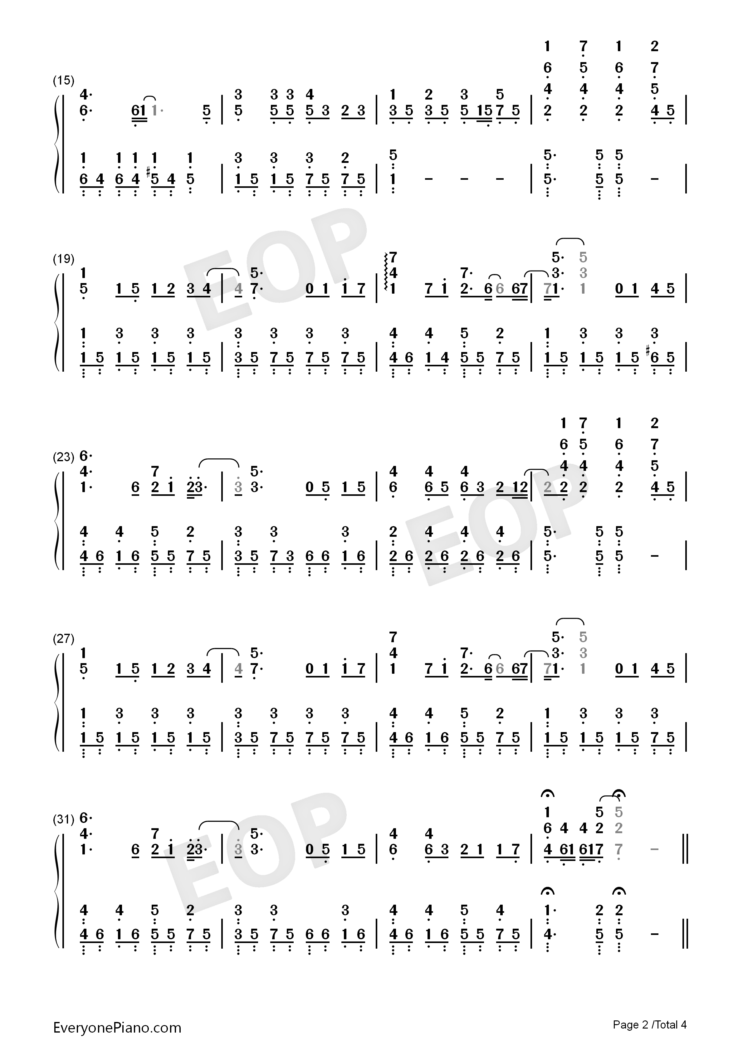蜗牛-周杰伦双手简谱预览2-钢琴谱(五线谱,双手简谱)图片