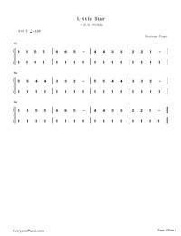 小星星初级版-eop教学曲钢琴谱文件(五线谱,双手简谱图片