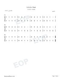 小星星中级版-eop教学曲钢琴谱文件(五线谱,双手简谱图片