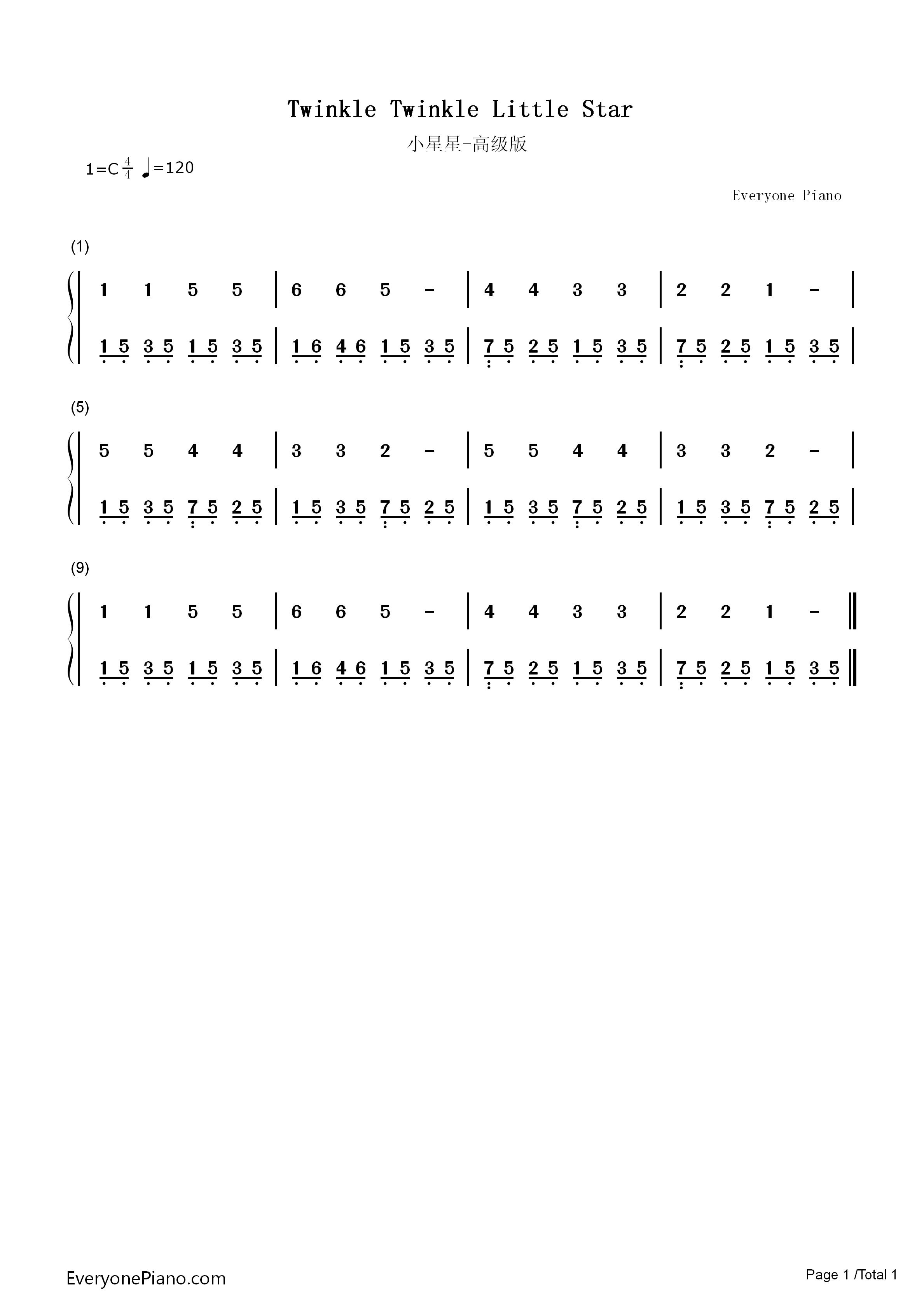 小星星高级版-eop教学曲双手简谱预览1