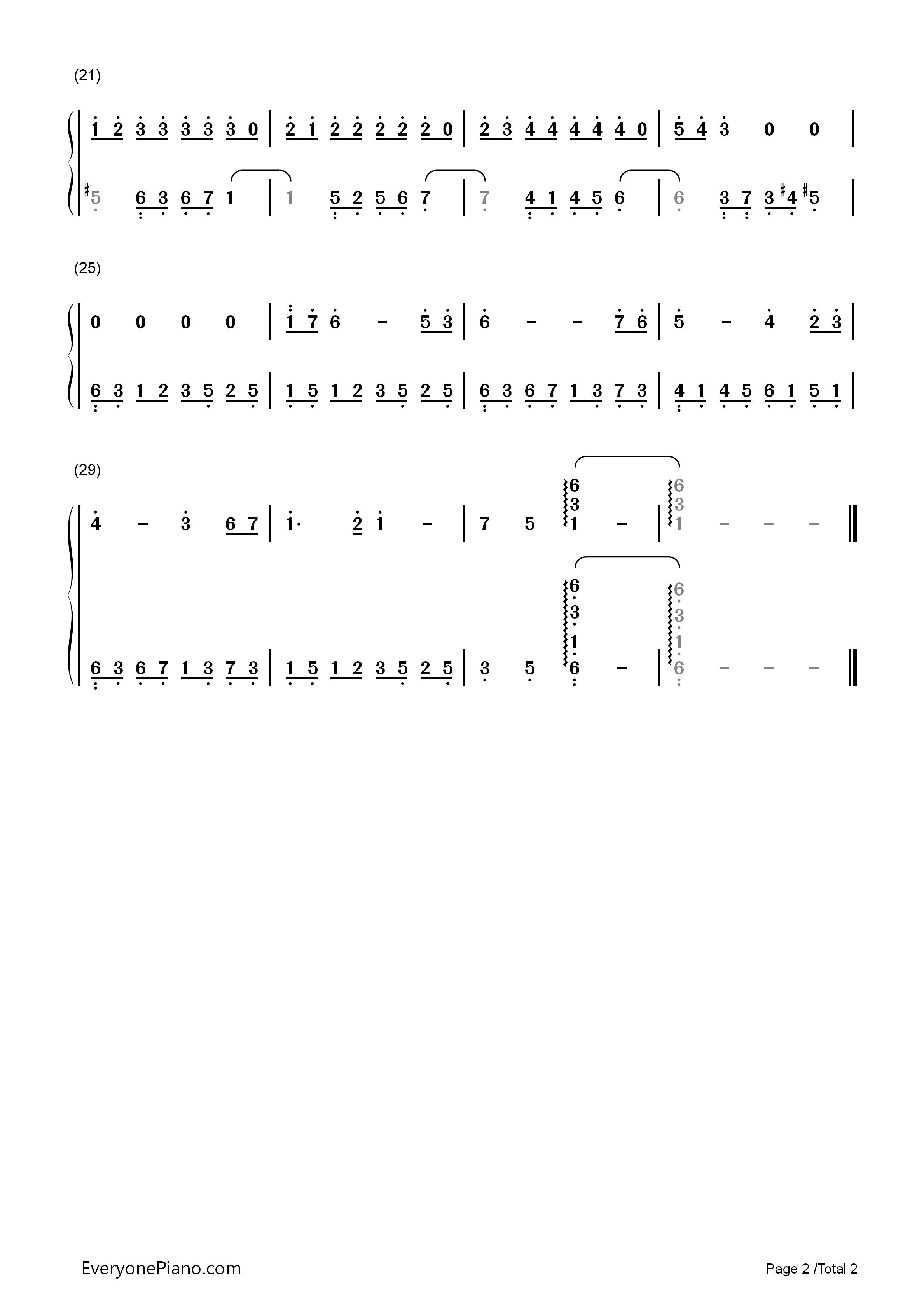 失恋进行曲-简单又好听的练习曲双手简谱预览2