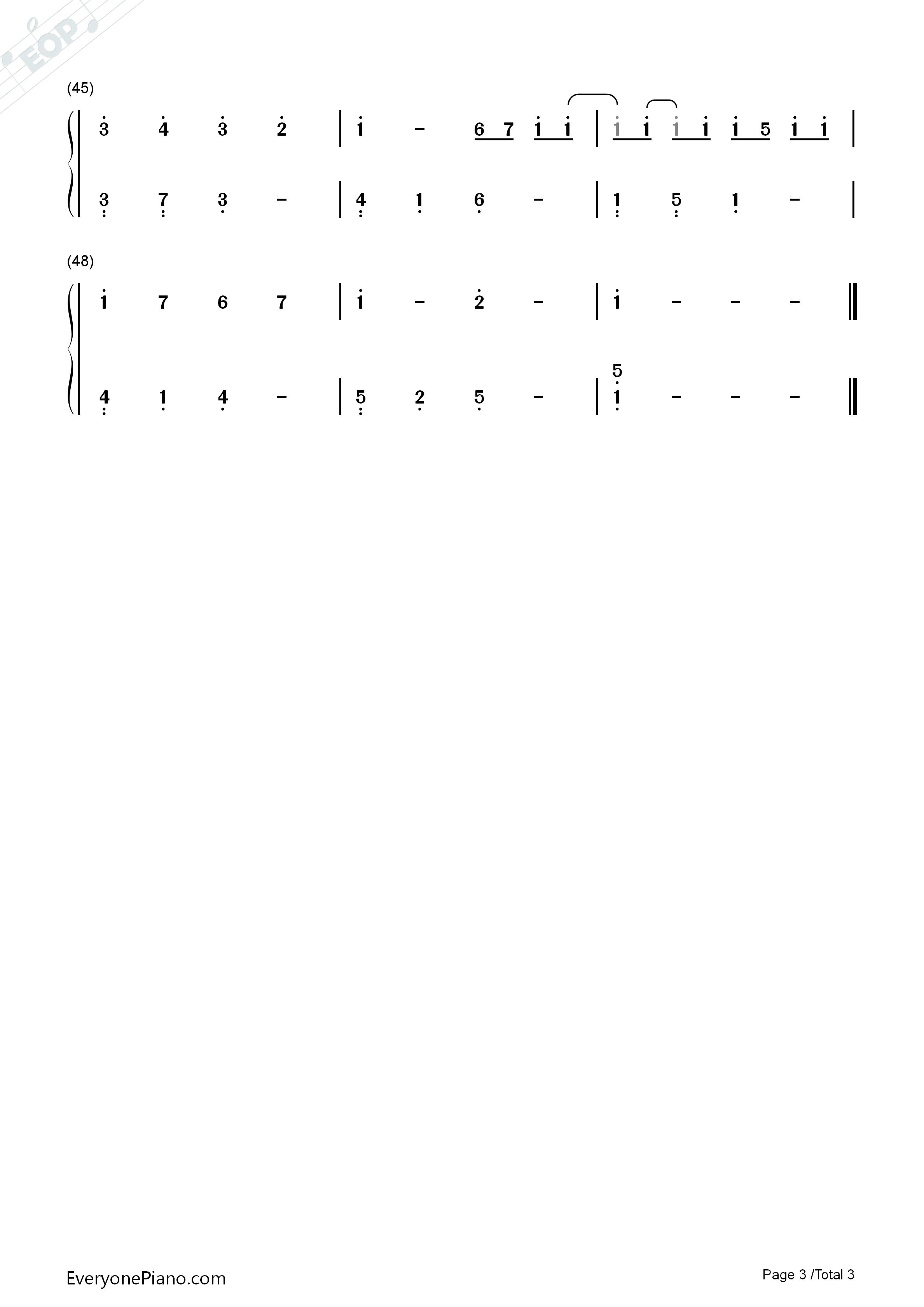 卡农简易版钢琴谱简谱