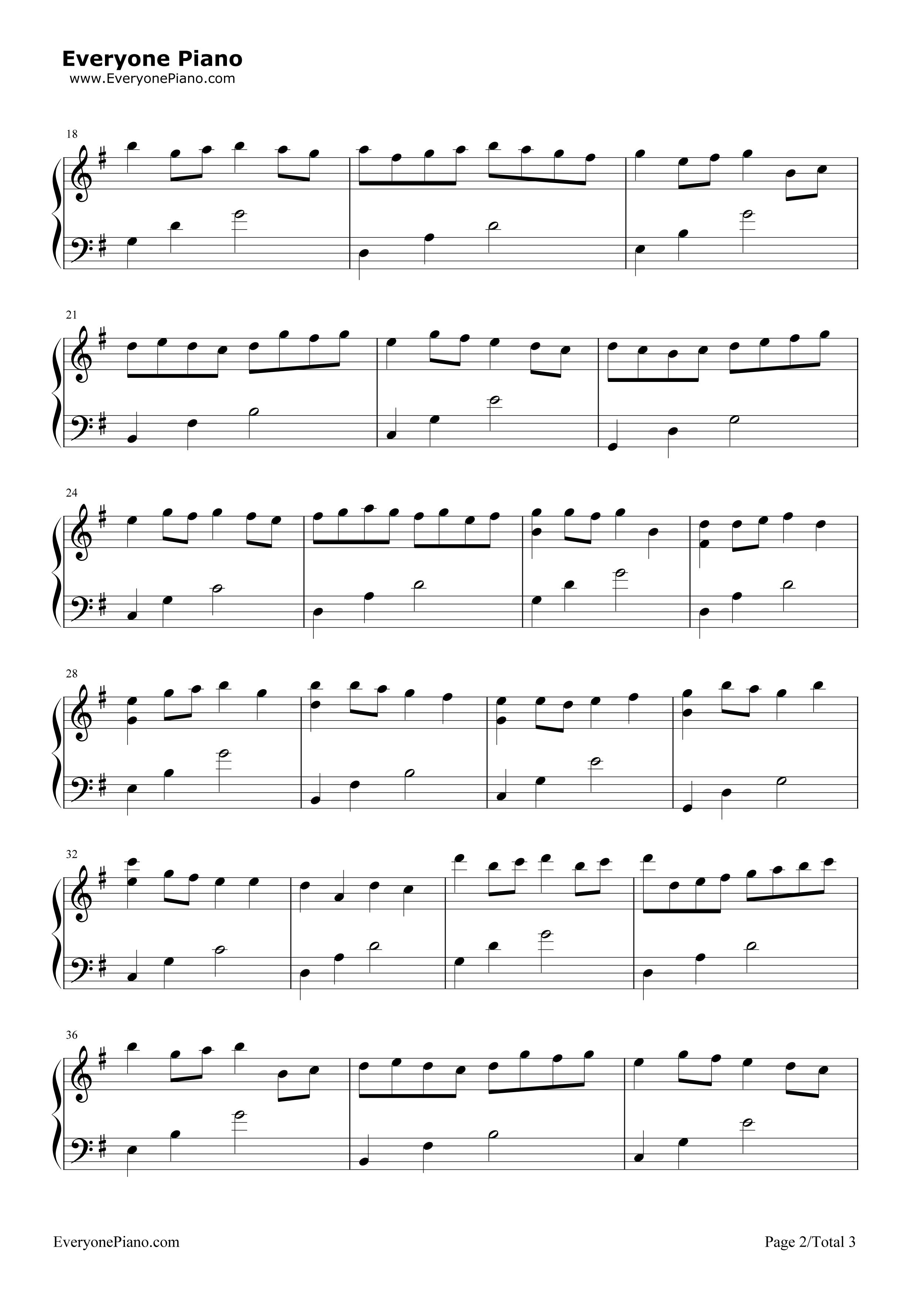 钢琴曲谱 经典 卡农g调简单版-eop教学曲 卡农g调简单版-eop教学曲