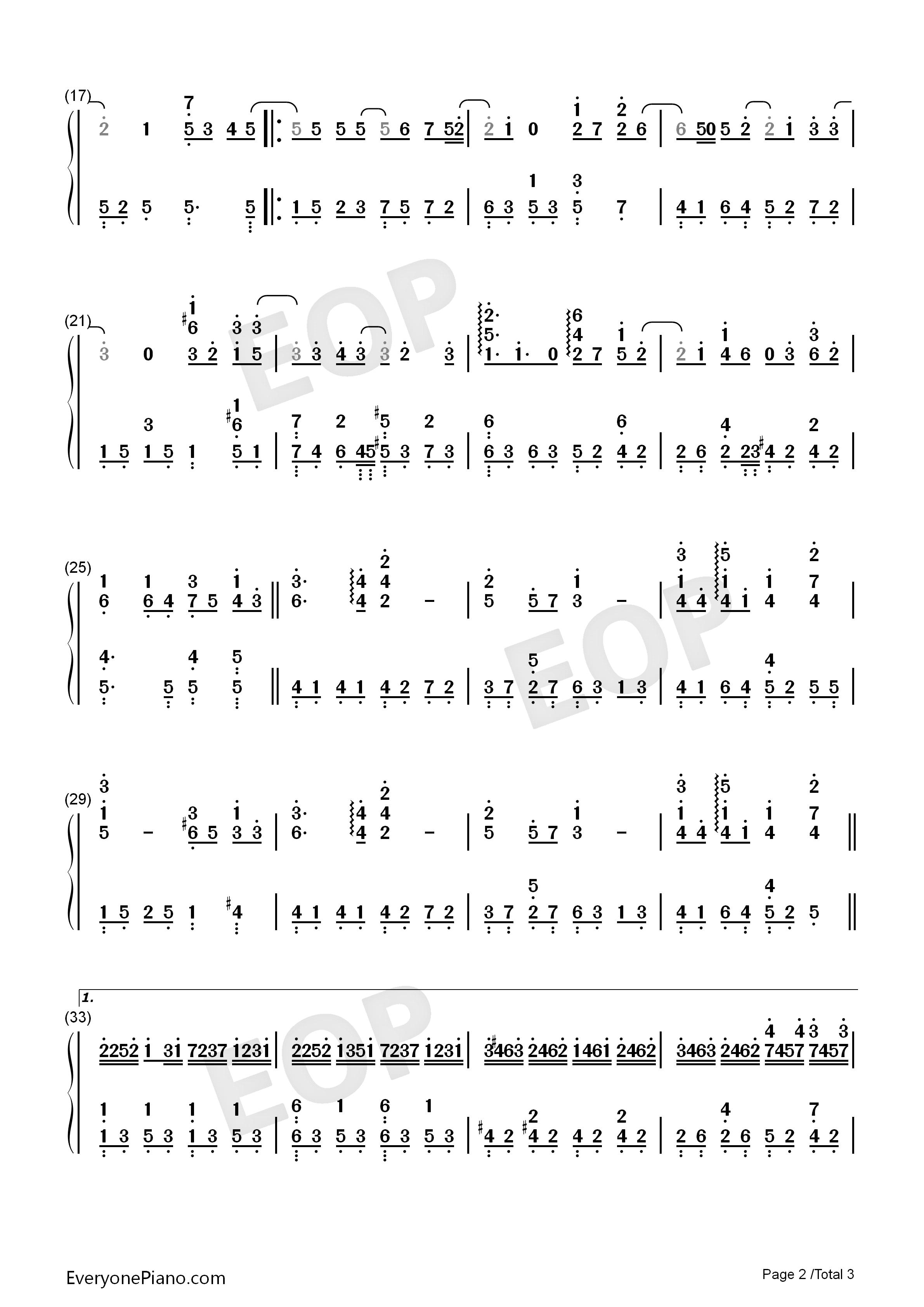 蒲公英的约定简单版-eop教学曲双手简谱预览2-钢琴谱