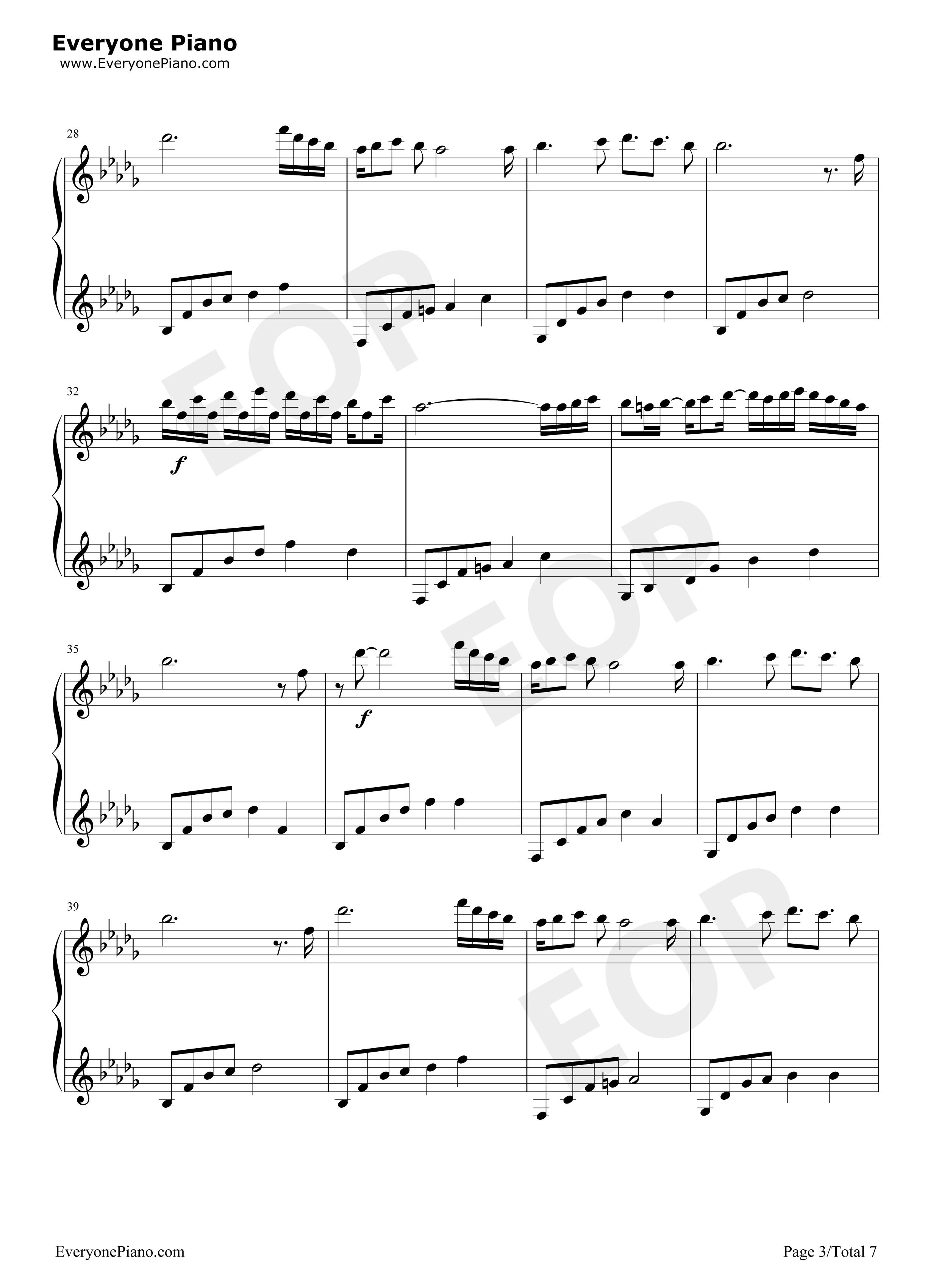 you-很好听的钢琴曲五线谱预览3图片