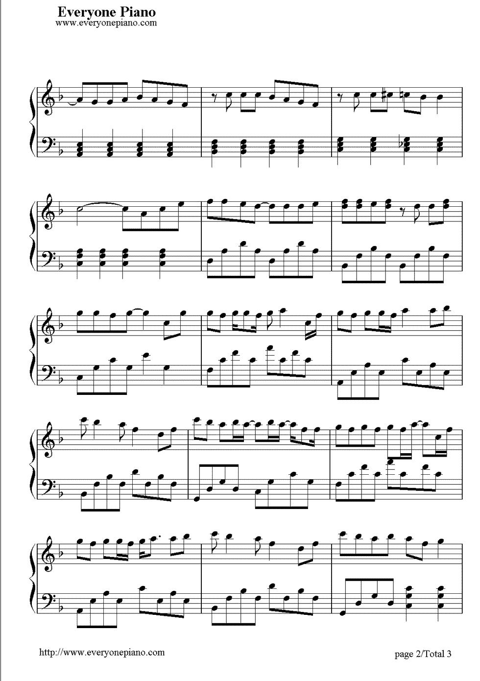 天空-蔡依林五线谱预览2-钢琴谱文件(五线谱,双手简谱