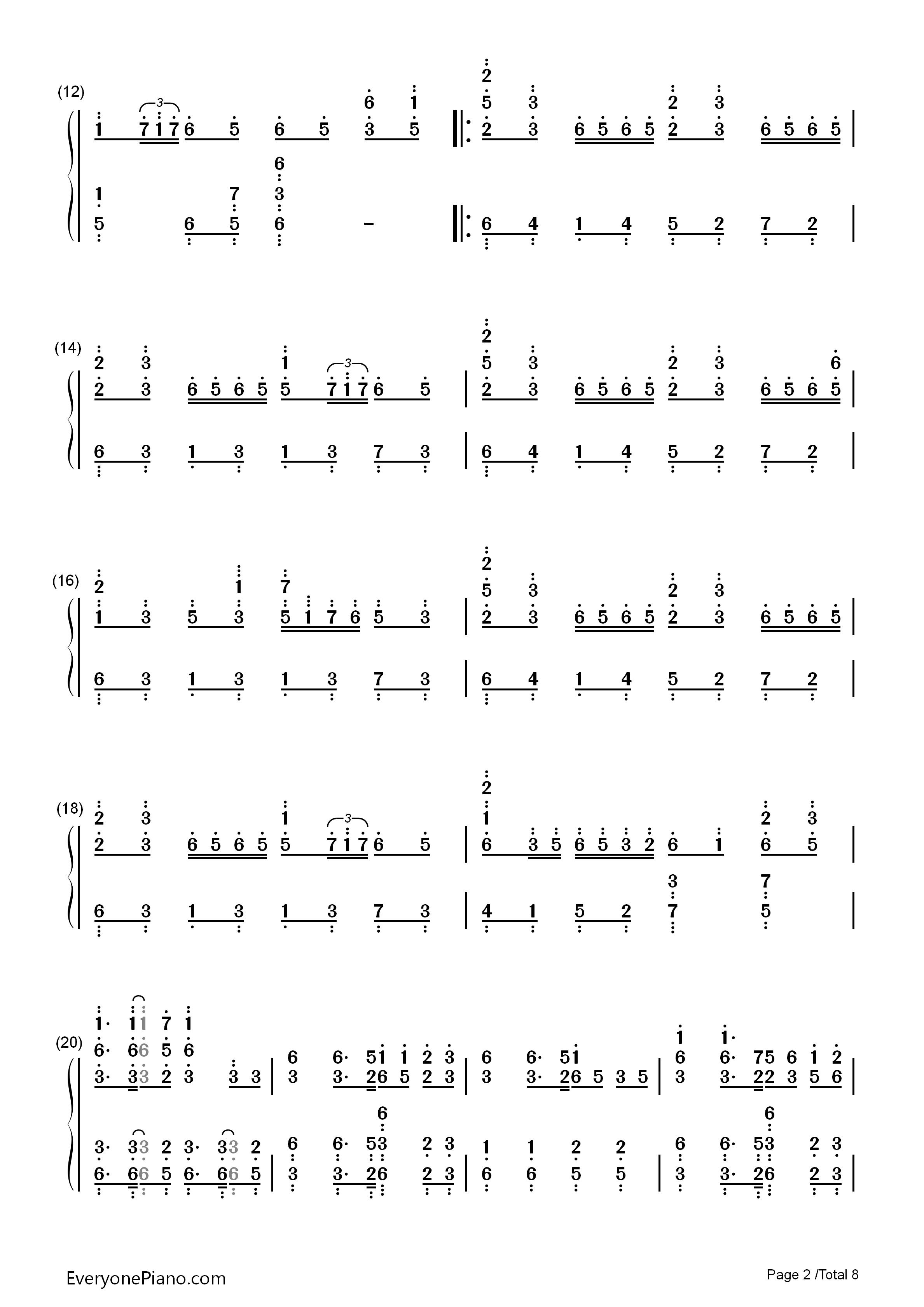 千本樱 初音未来双手简谱预览 EOP在线乐谱架