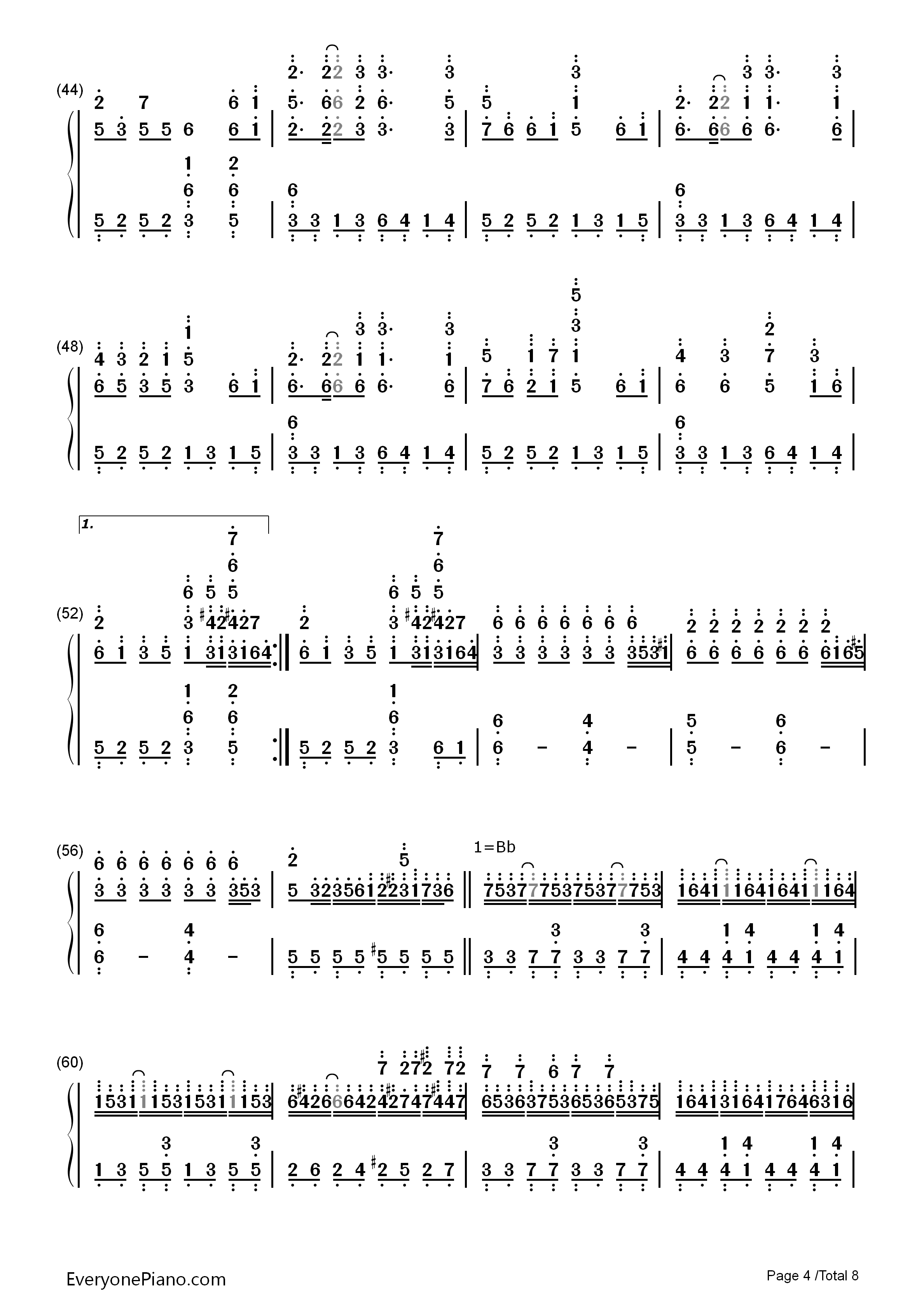 钢琴曲谱 动漫 千本樱-初音未来 千本樱-初音未来双手简谱预览4图片
