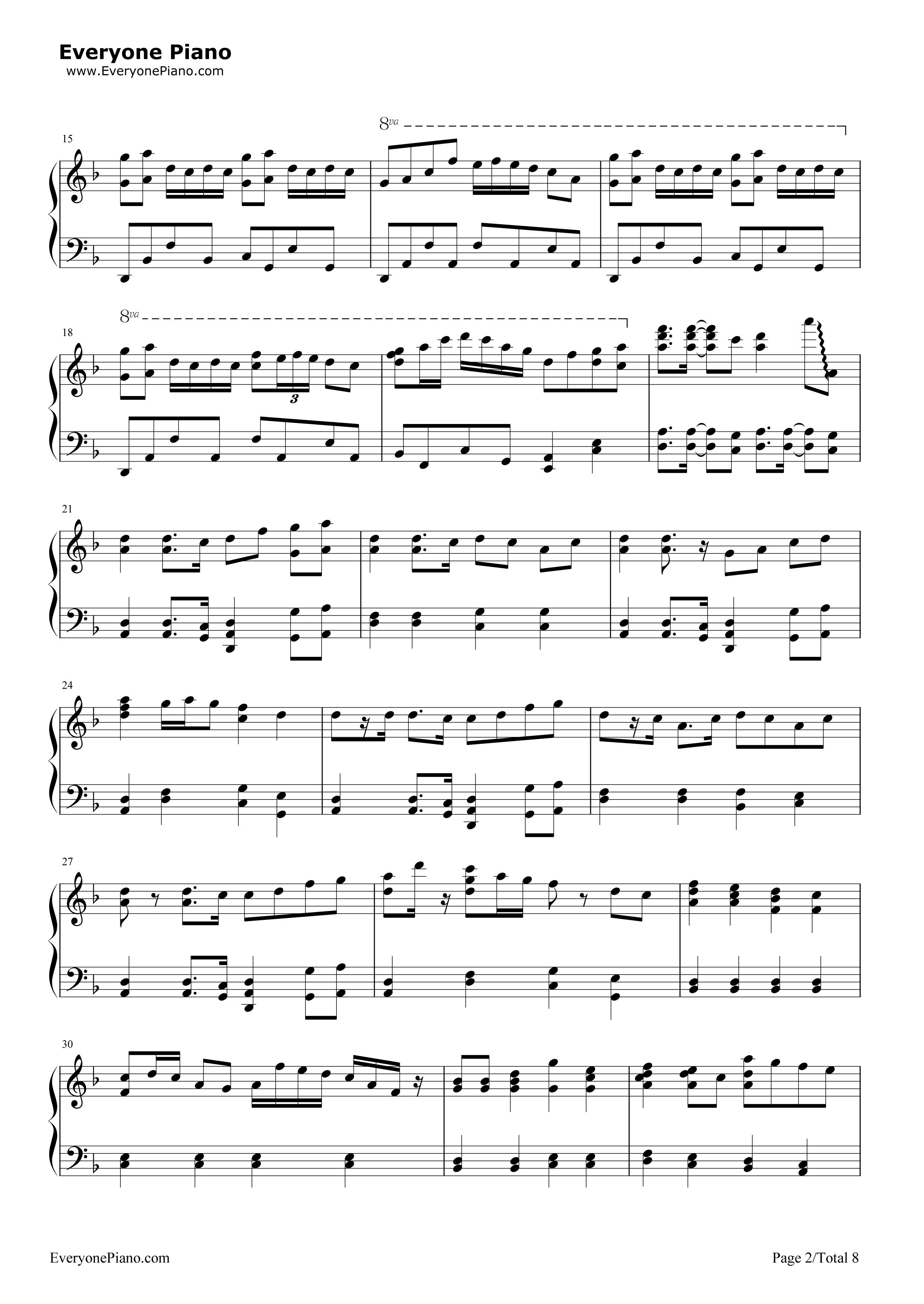 千本樱-初音未来五线谱预览2-钢琴谱(五线谱,双手简谱
