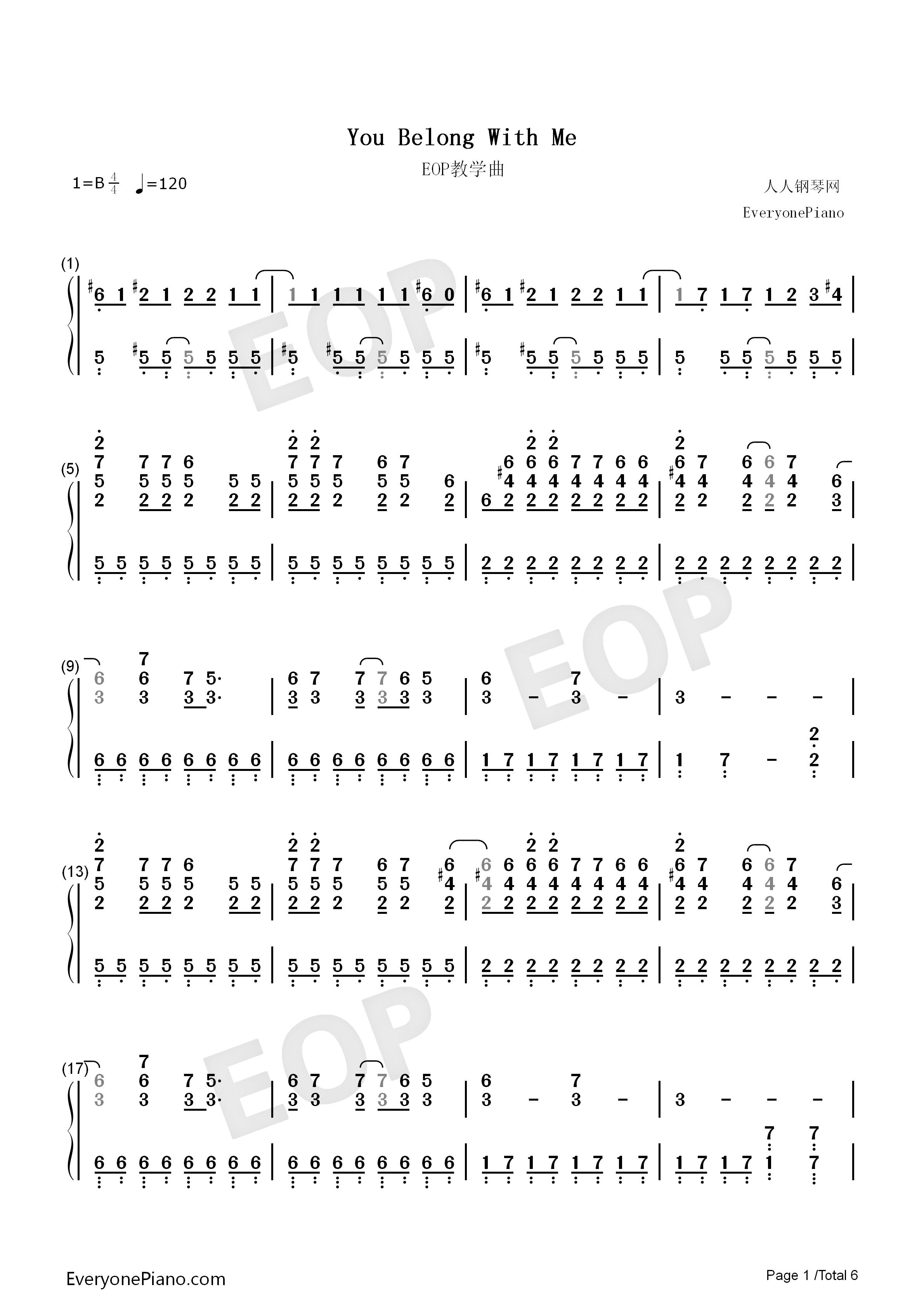 you belong with me-taylor swift双手简谱预览1-钢琴图片