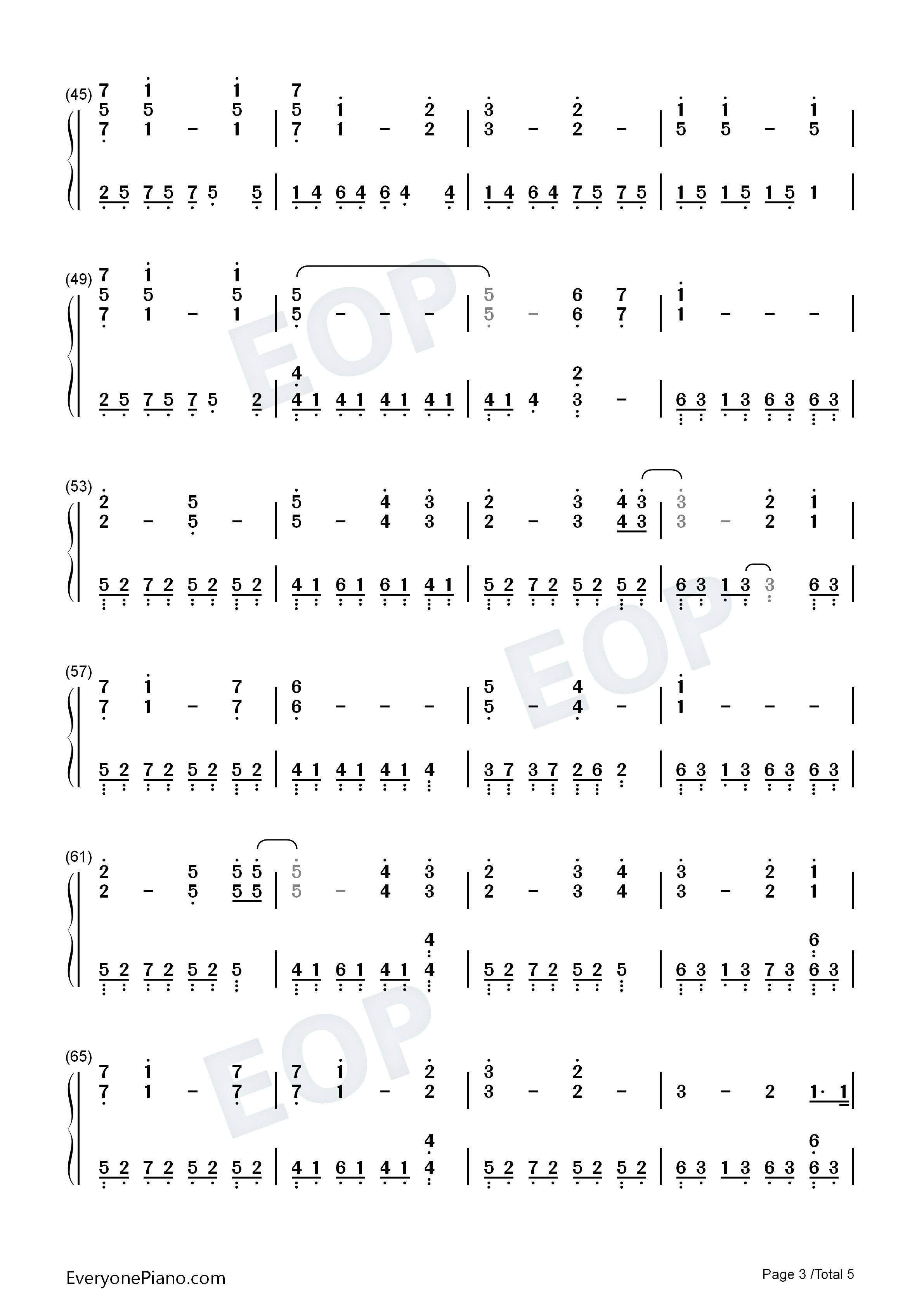久石让的天空之城钢琴曲简谱