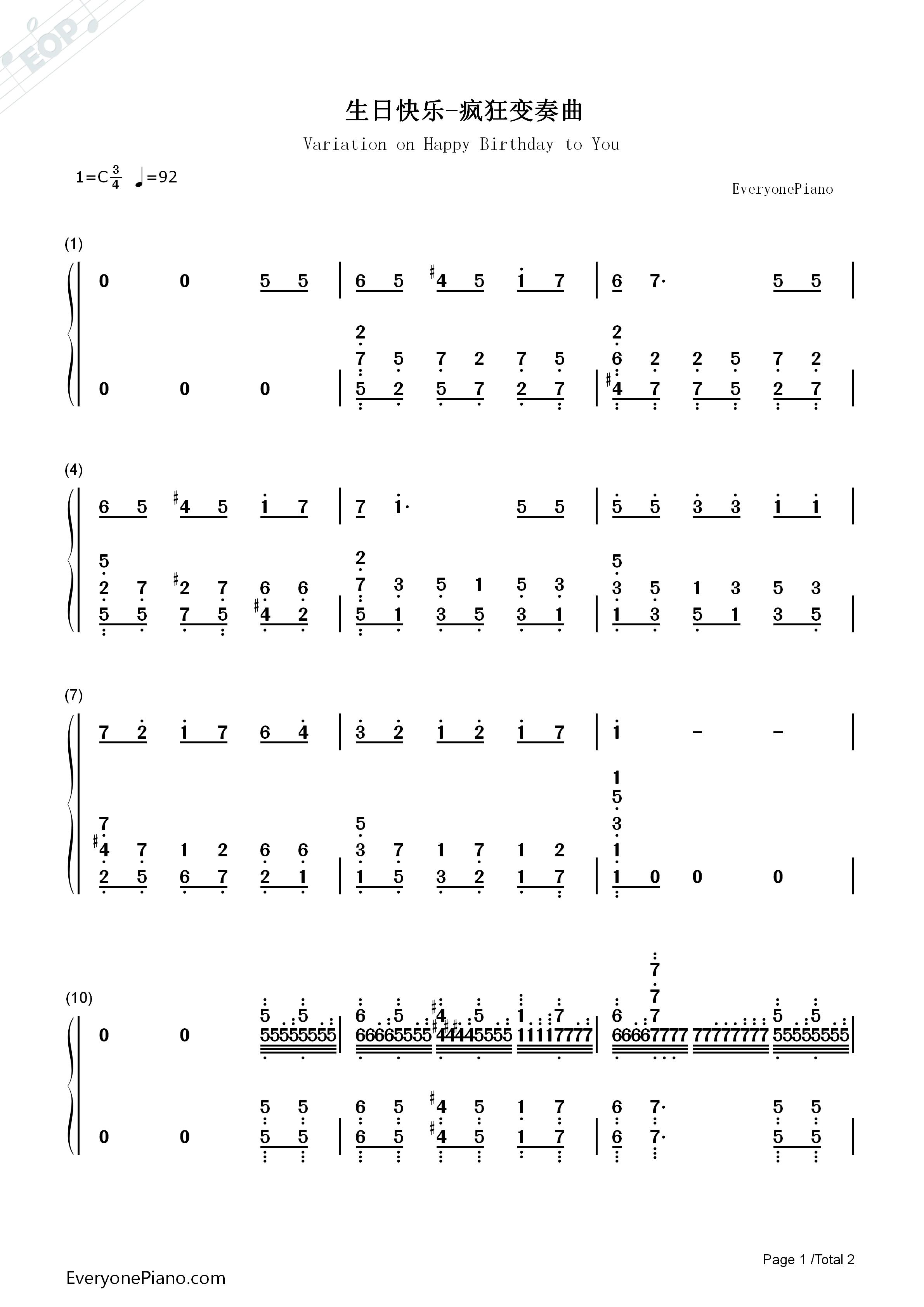 生日快乐疯狂变奏曲双手简谱预览1-钢琴谱(五线谱,)