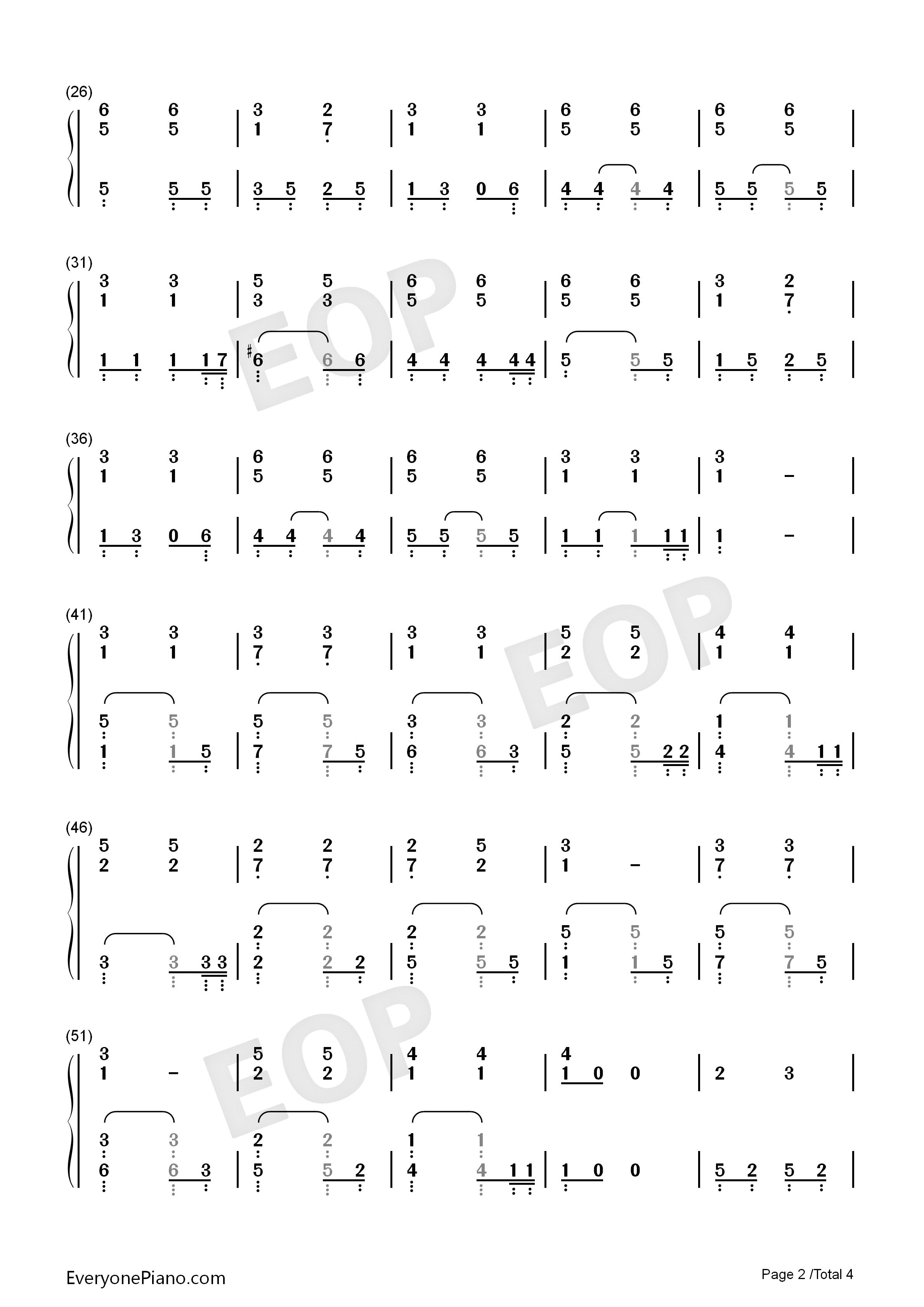 我的歌声里简易伴奏版双手简谱预览2-钢琴谱图片