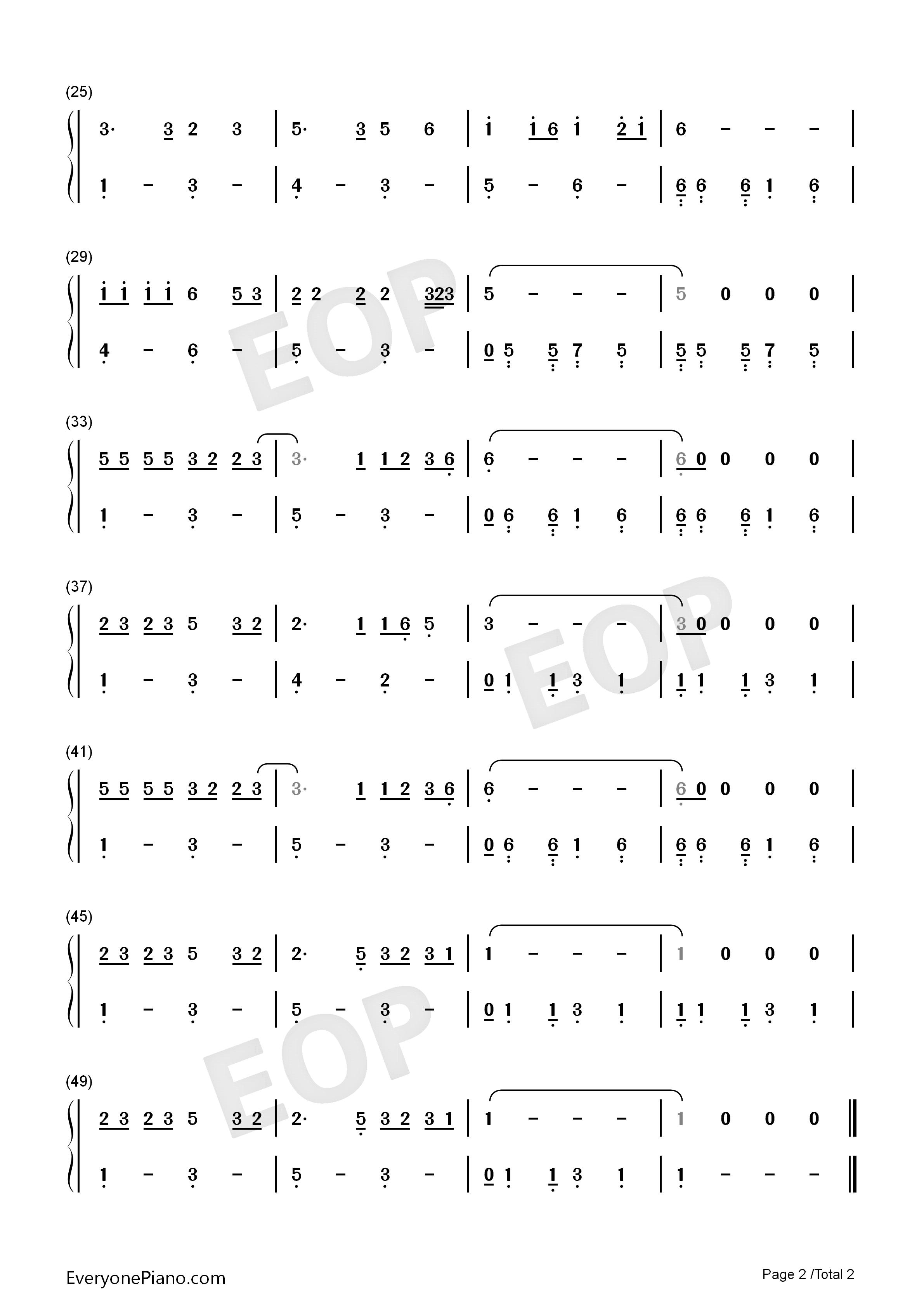 恋曲1990-罗大佑双手简谱预览2