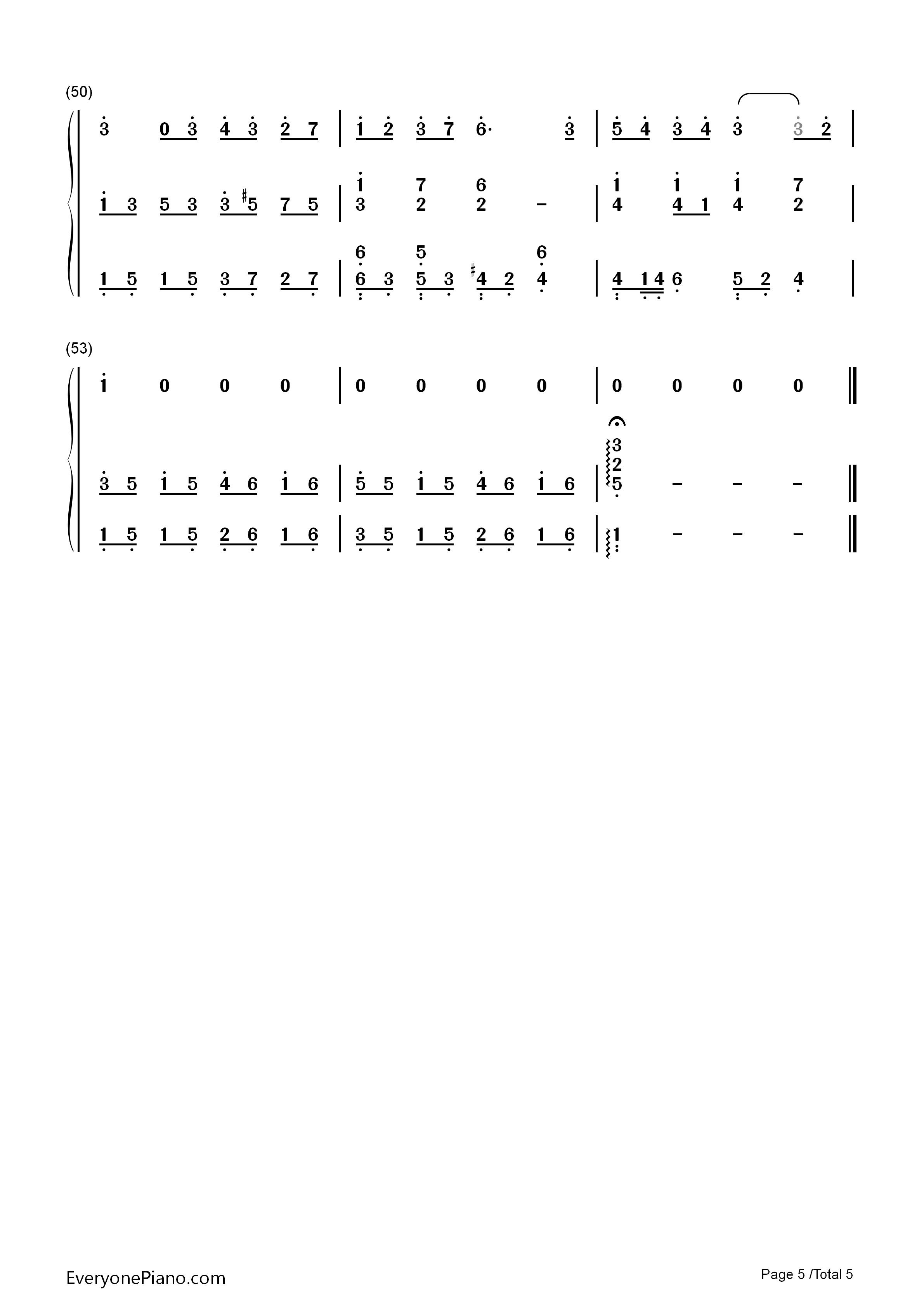 彩虹伴奏版-周杰伦双手简谱预览5