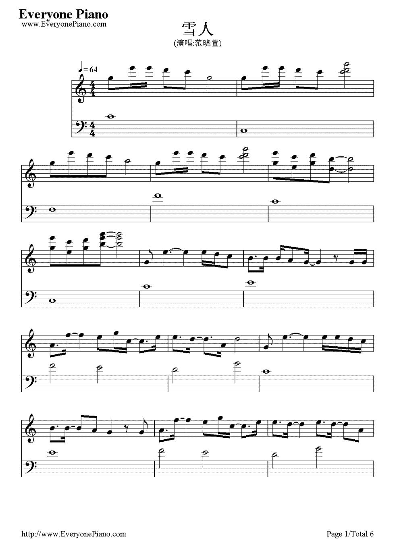 钢琴谱(五线谱,双手简谱)