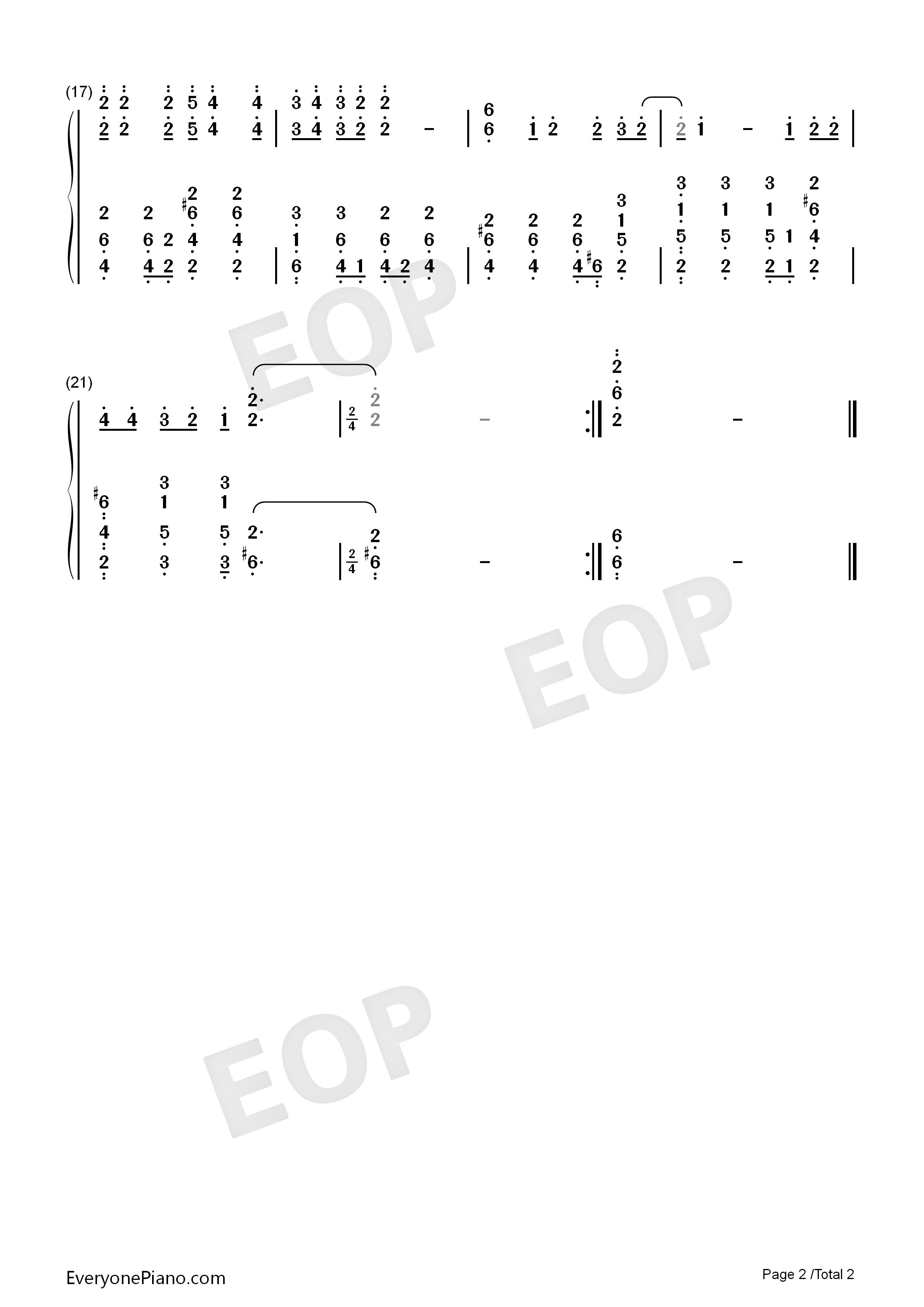 只想守护你-戴拿奥特曼片尾曲-eop教学曲双手简谱预览2