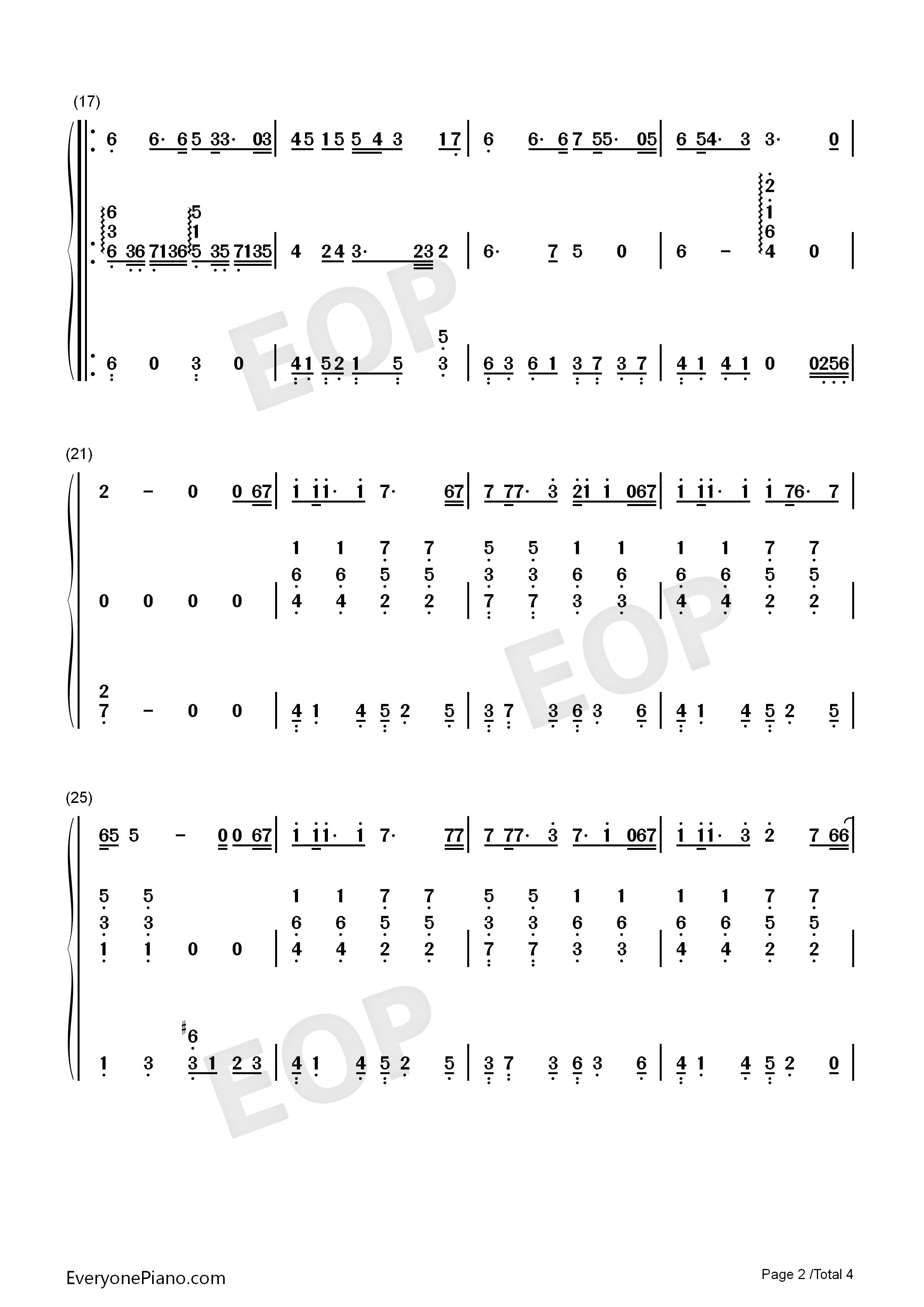 父亲-伴奏-筷子兄弟双手简谱预览2