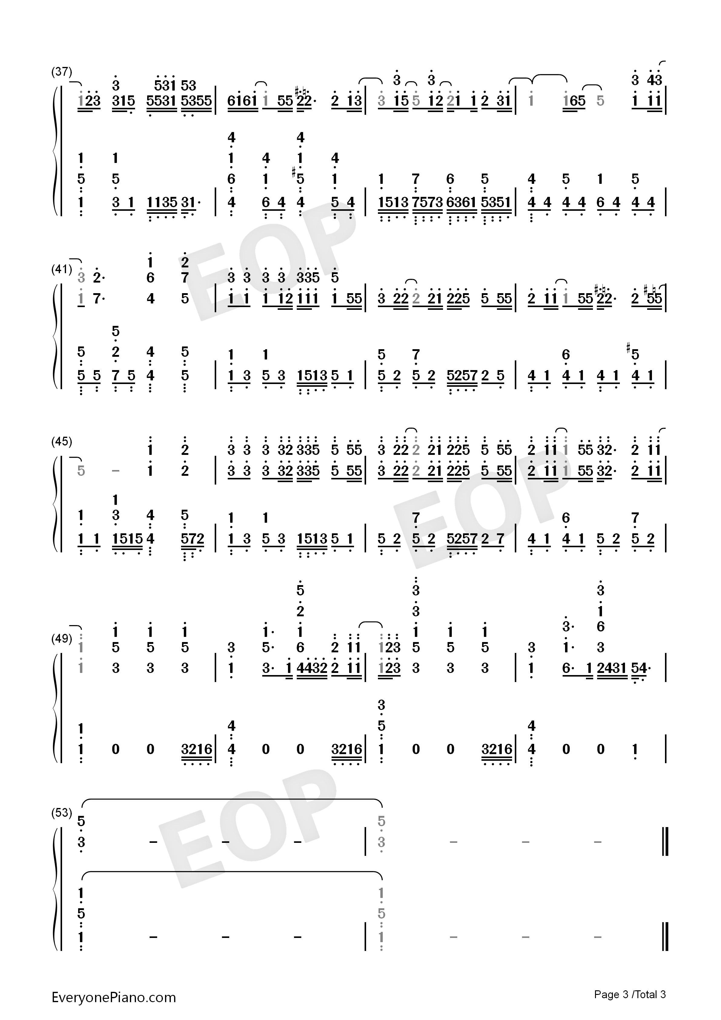 学曲双手简谱预览3-钢琴谱图片