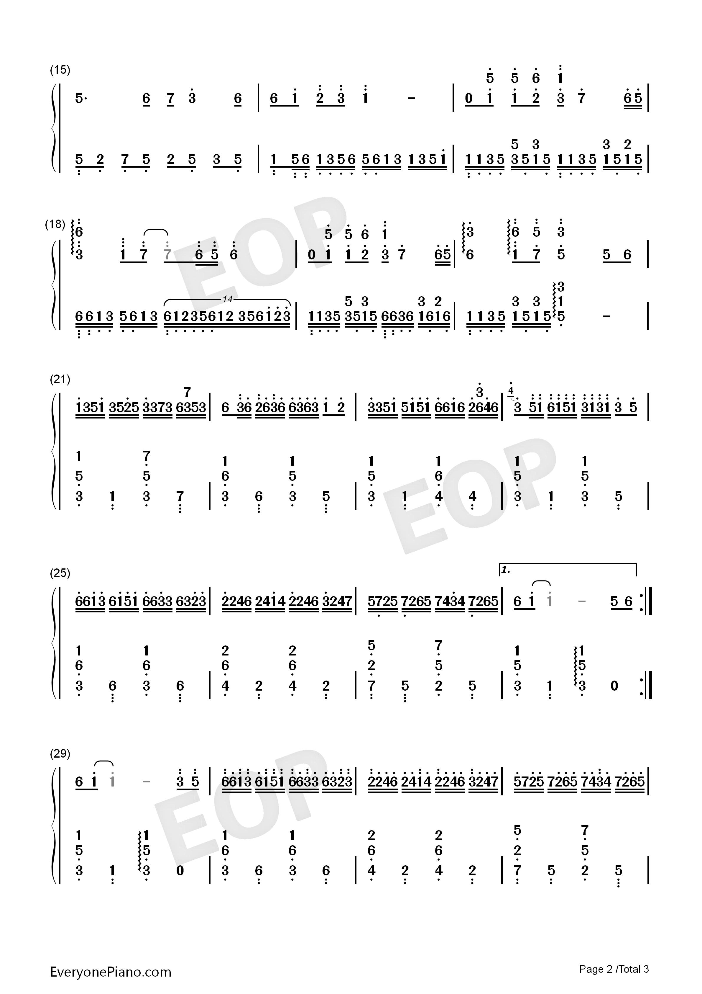 女儿情 西游记插曲 EOP教学曲双手简谱预览 EOP在线乐谱架