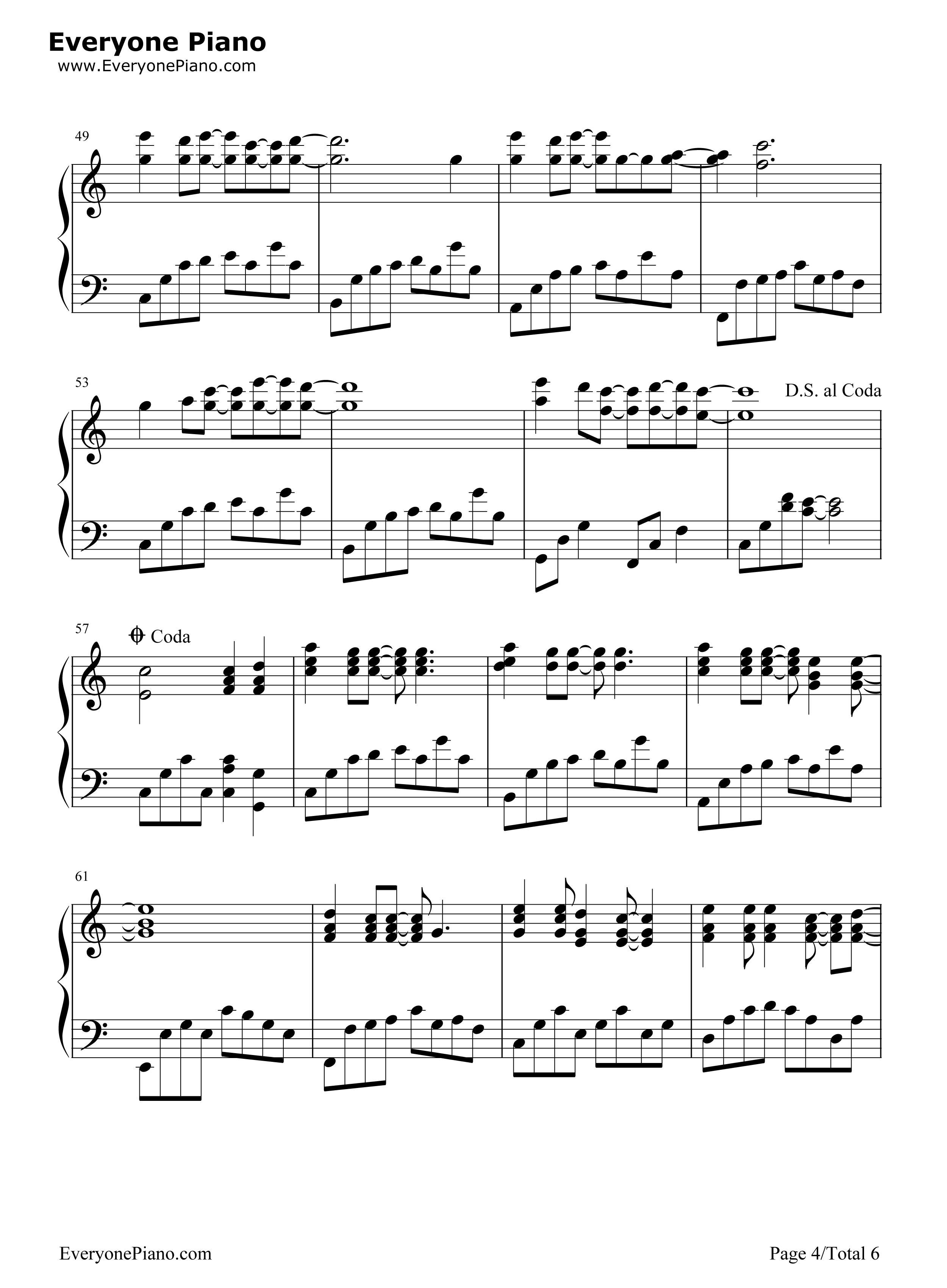 网站首页 钢琴曲谱 流行 那些花儿-朴树 >> 那些花儿-朴树五线谱预览4