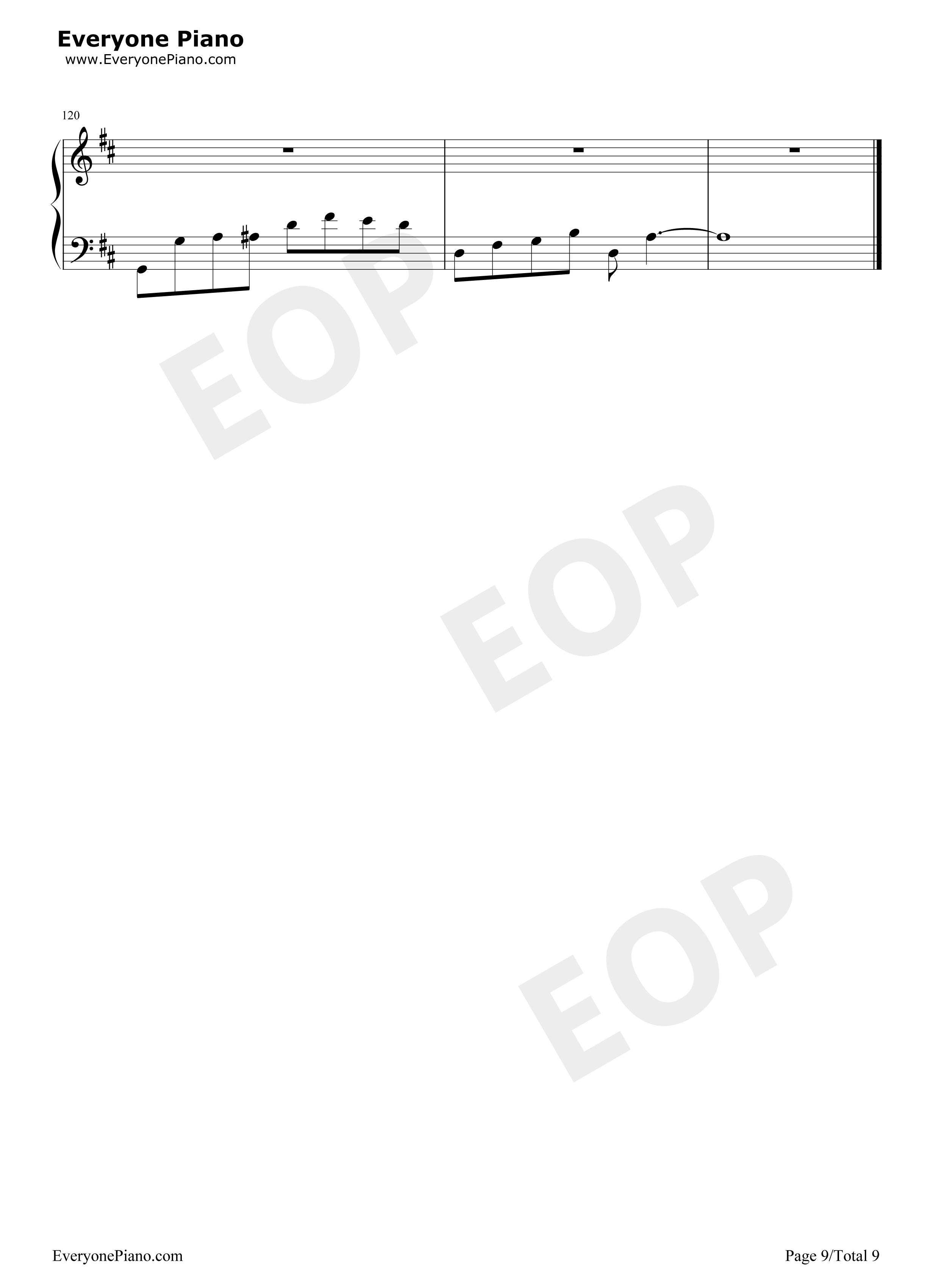 旋木-王菲五线谱预览9-钢琴谱(五线谱,双手简谱)免费