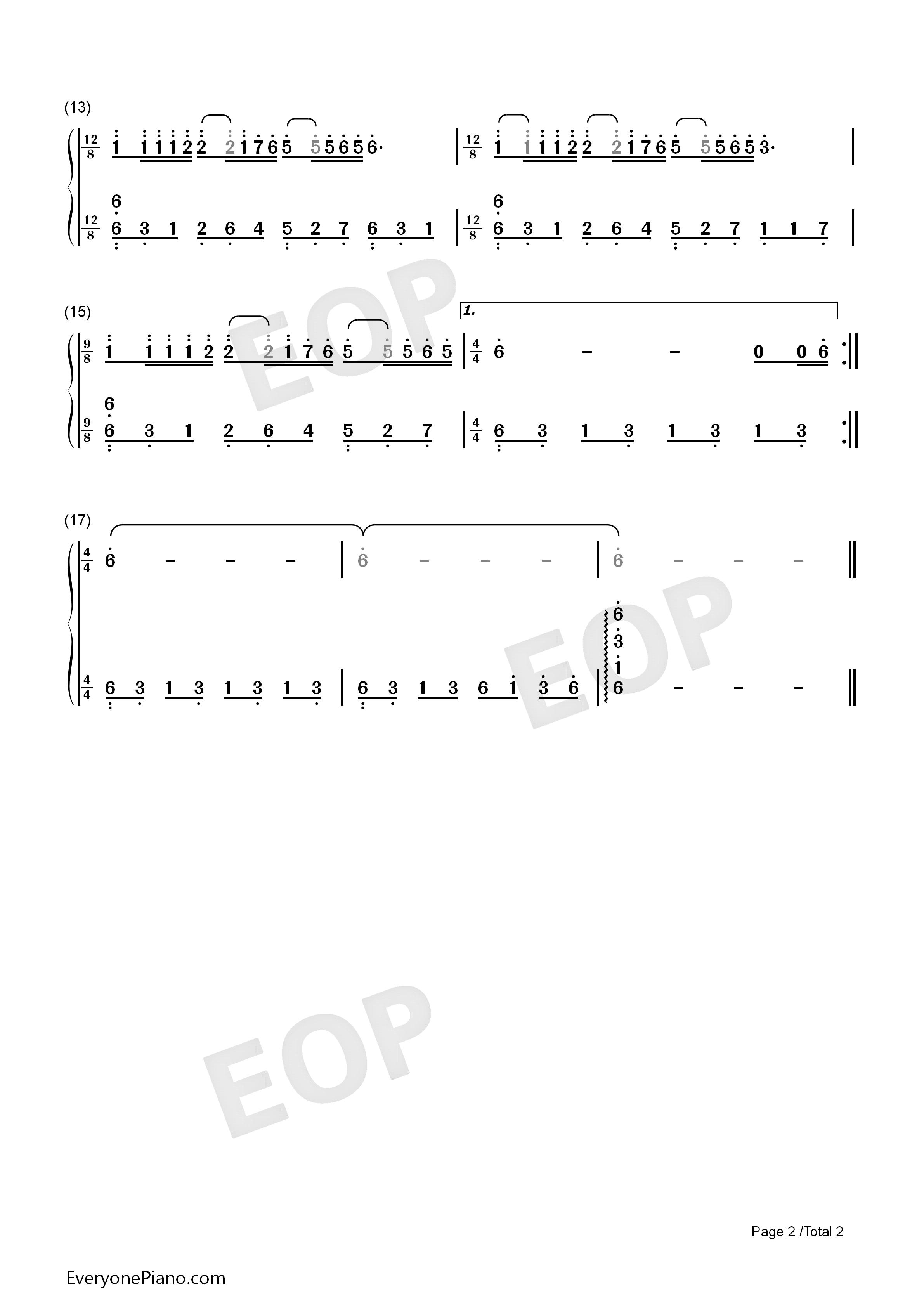 梦中的婚礼-简单版双手简谱预览2-钢琴谱(五线谱