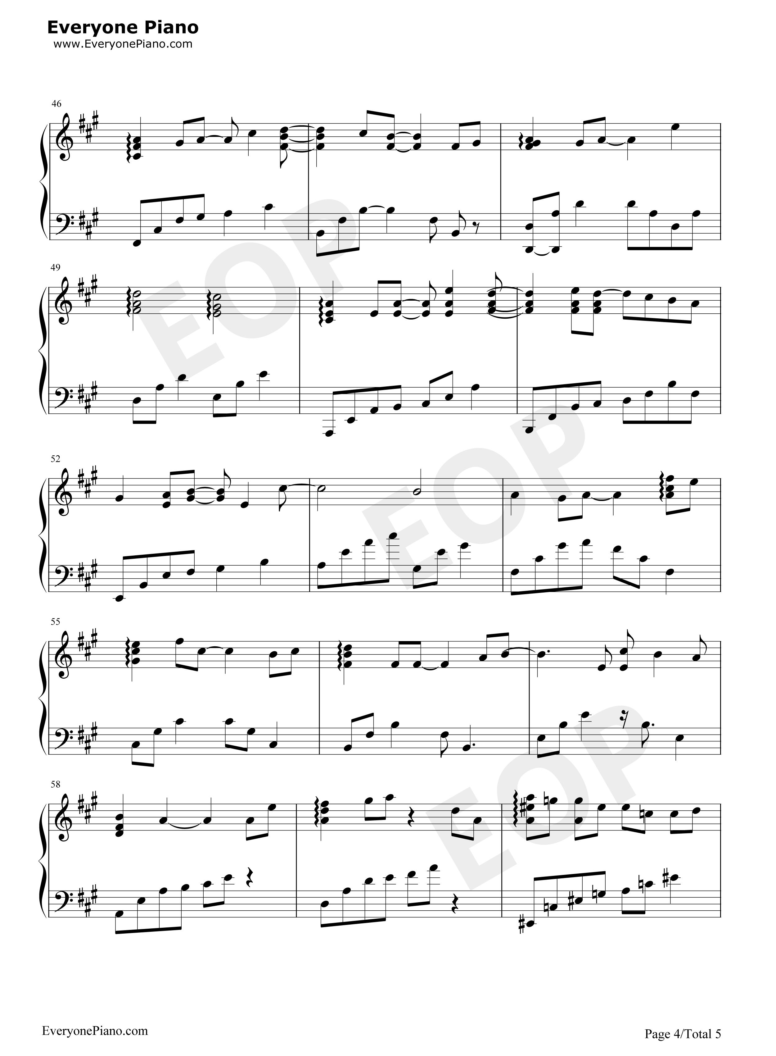 烟火的季节-f4五线谱预览4-钢琴谱(五线谱,双手简谱)