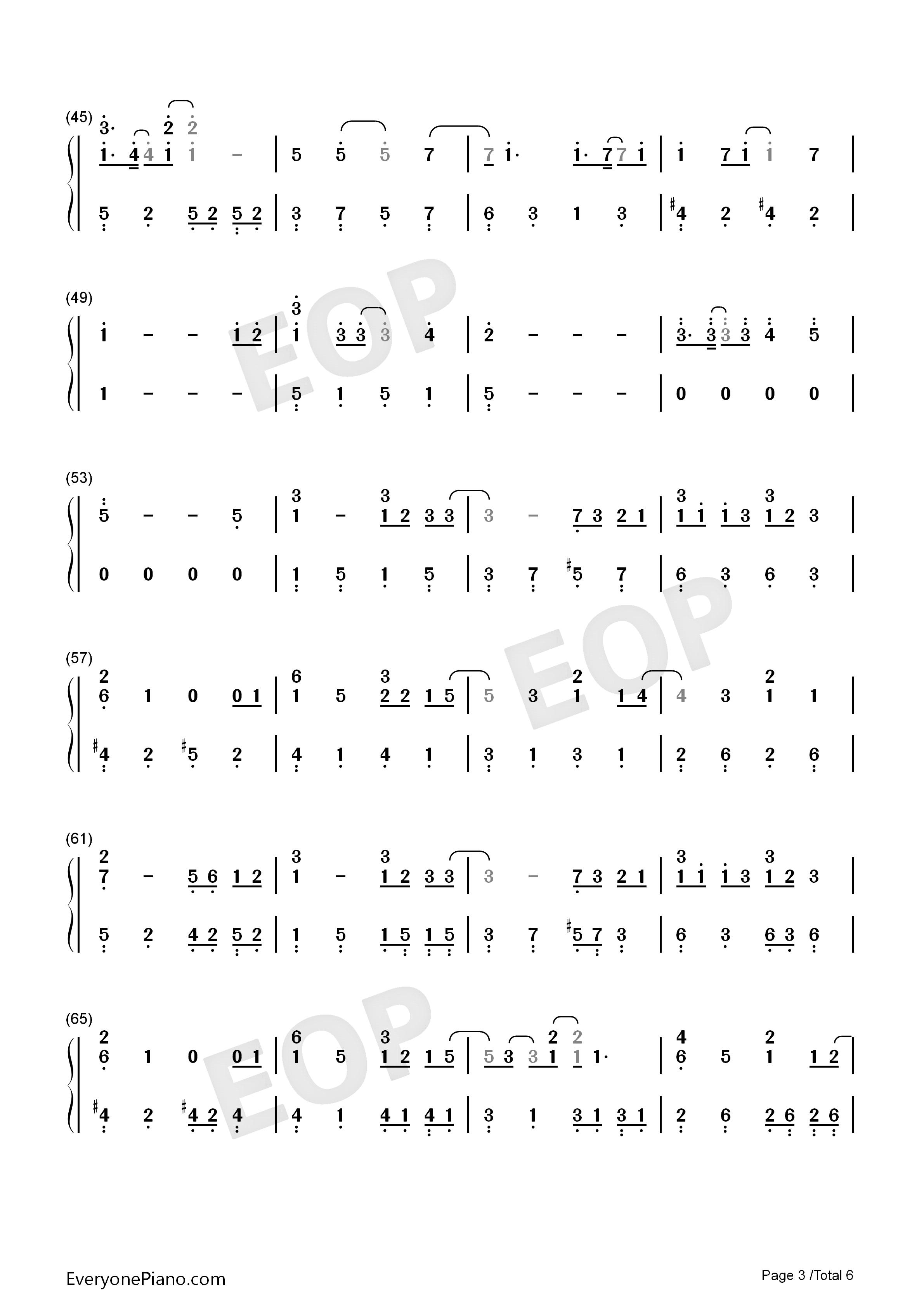 天梯-c allstar-eop教学曲双手简谱预览3-钢琴谱文件