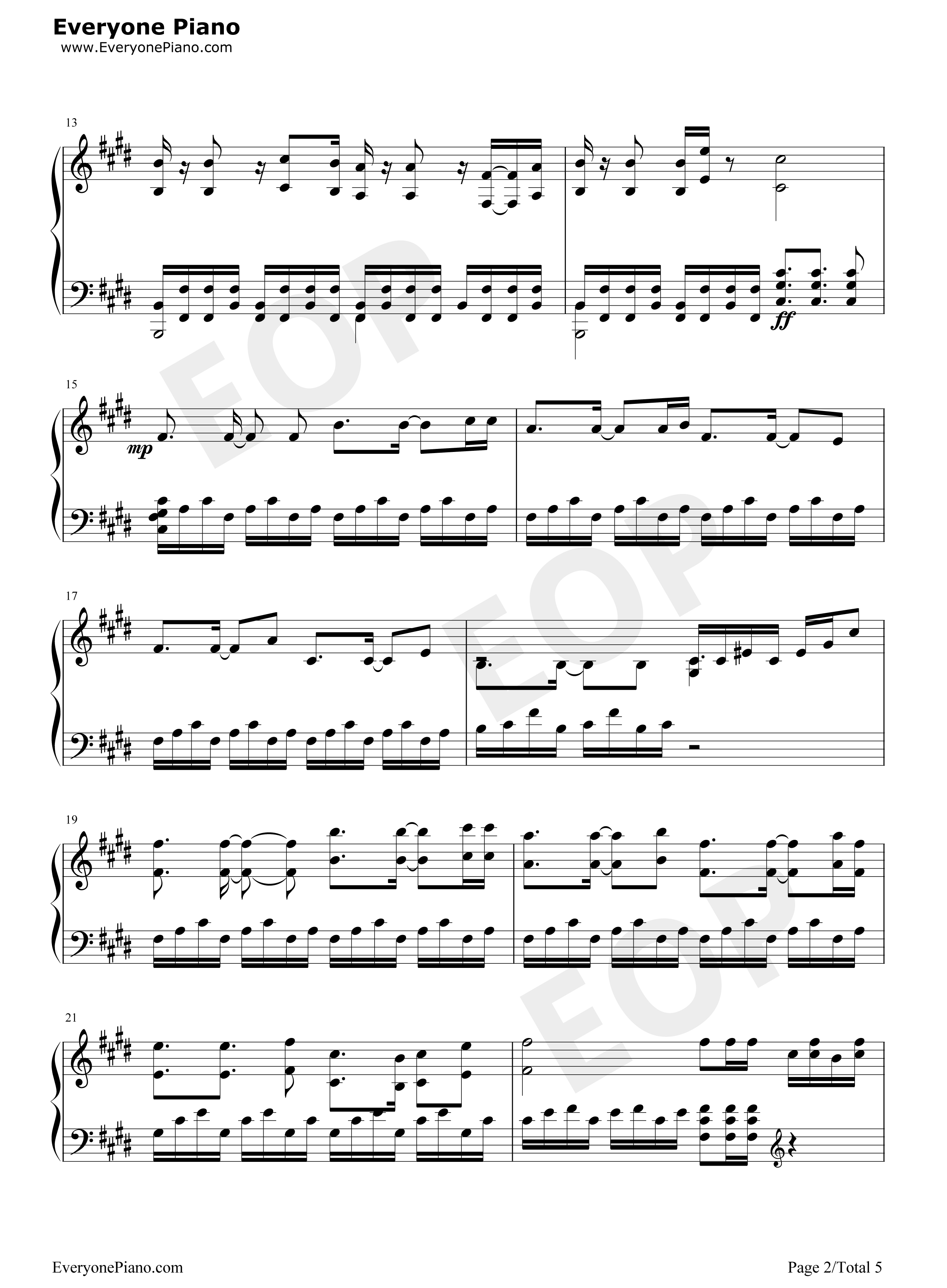 笑傲江湖-刘正风五线谱预览2-钢琴谱(五线谱,双手简谱