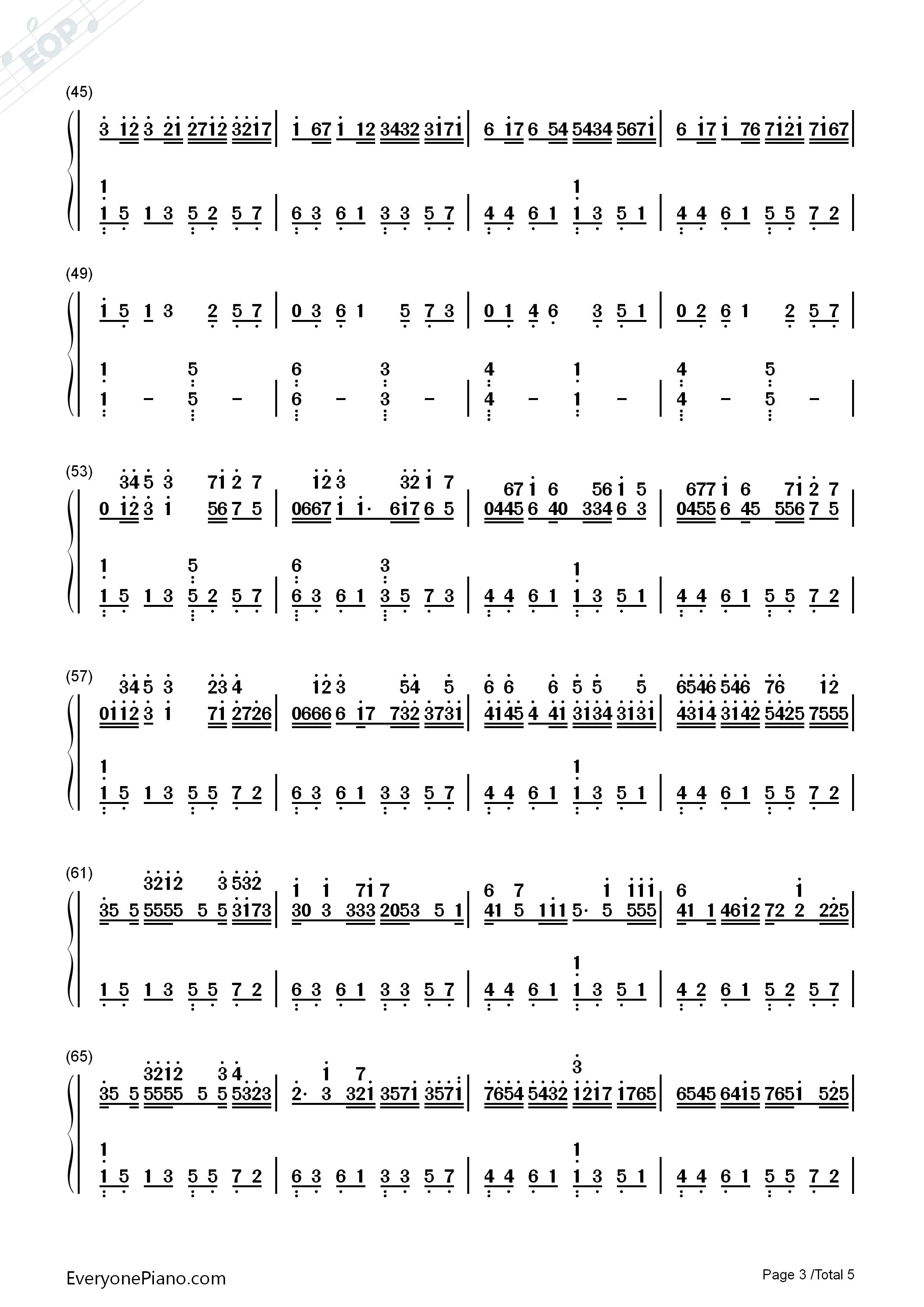 c大调卡农-带力度版双手简谱预览3