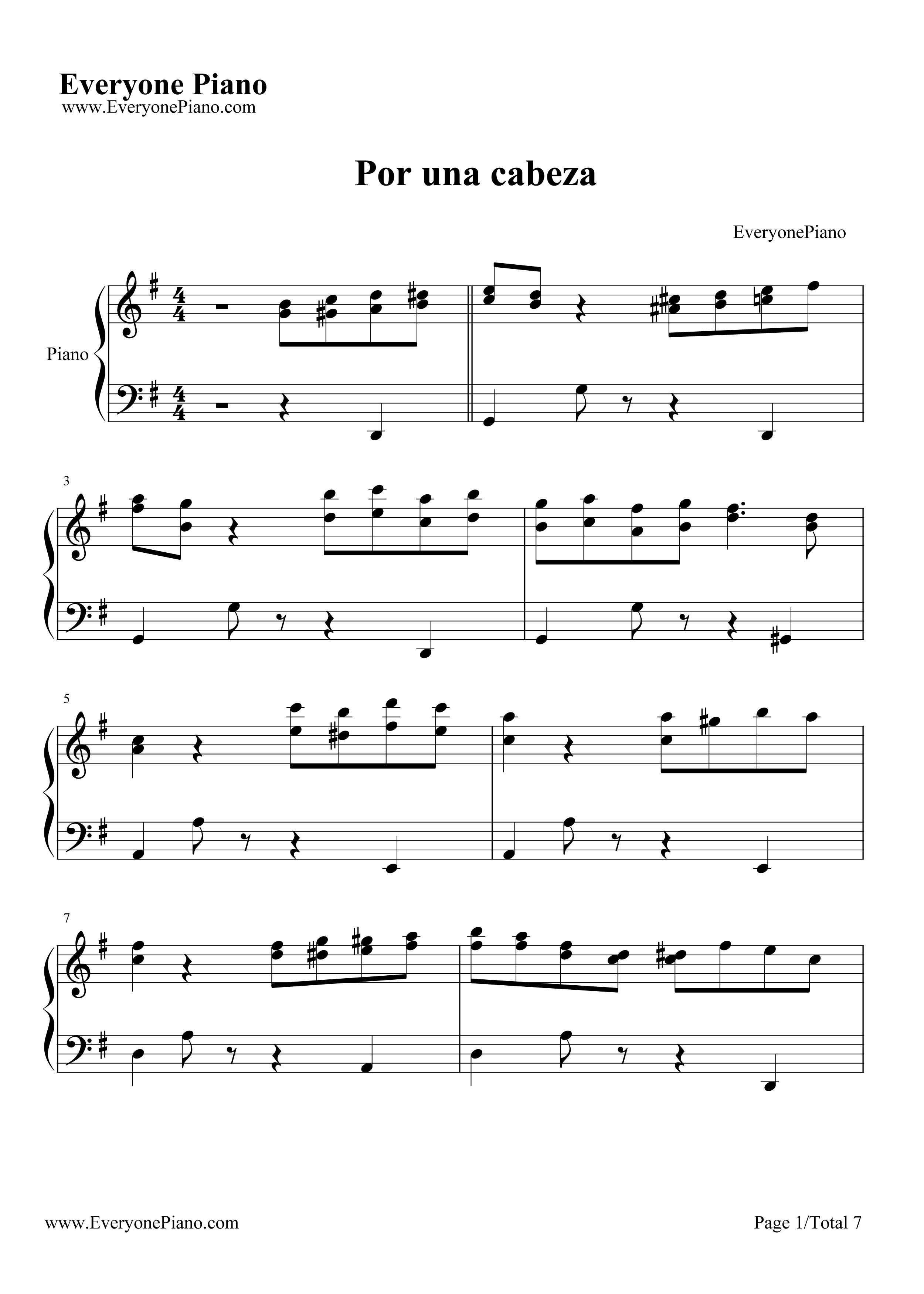 za 经典探戈舞曲五线谱预览1