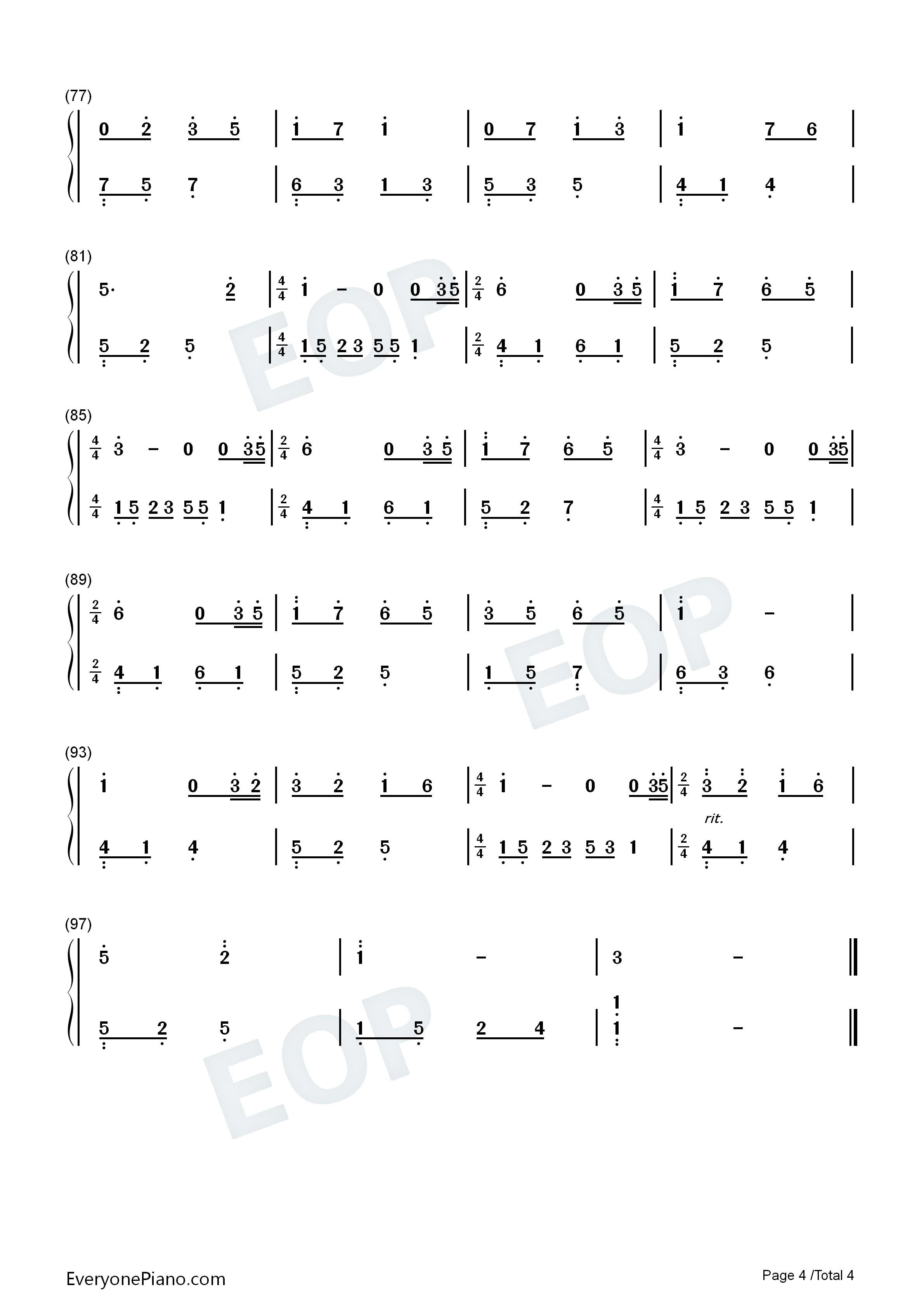 石进夜的钢琴曲1_夜的钢琴曲 15双手简谱预览-EOP在线乐谱架