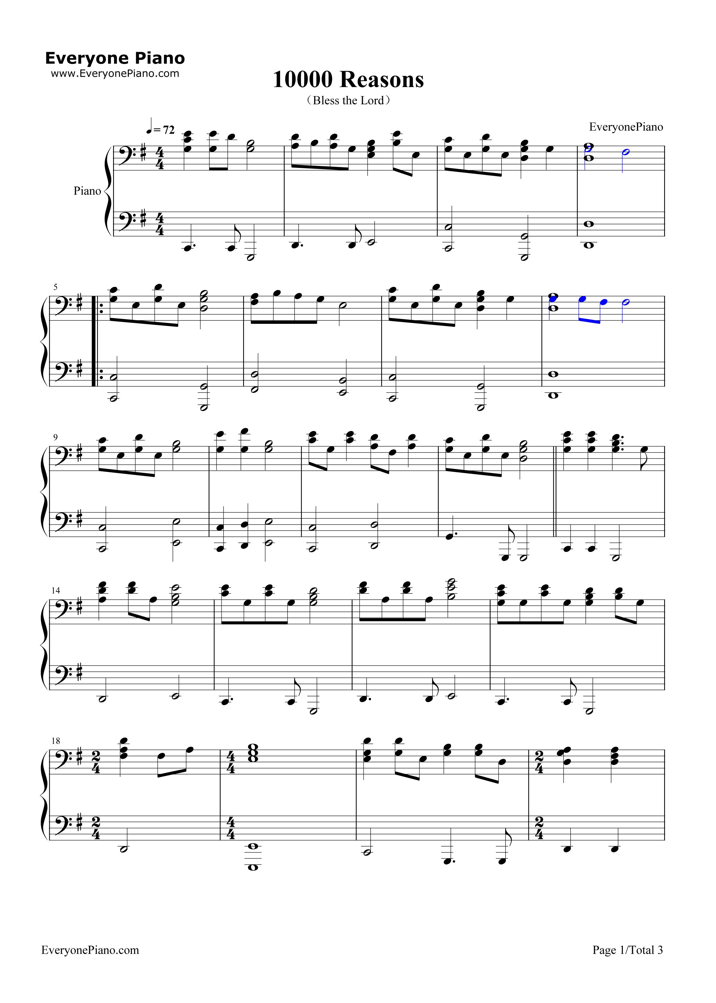 10000 Reasons Sheet Music Piano Ibovnathandedecker